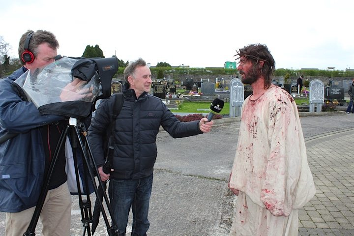 Actor Playing Jesus in the Annual Way of the Cross 2015 being interviewed