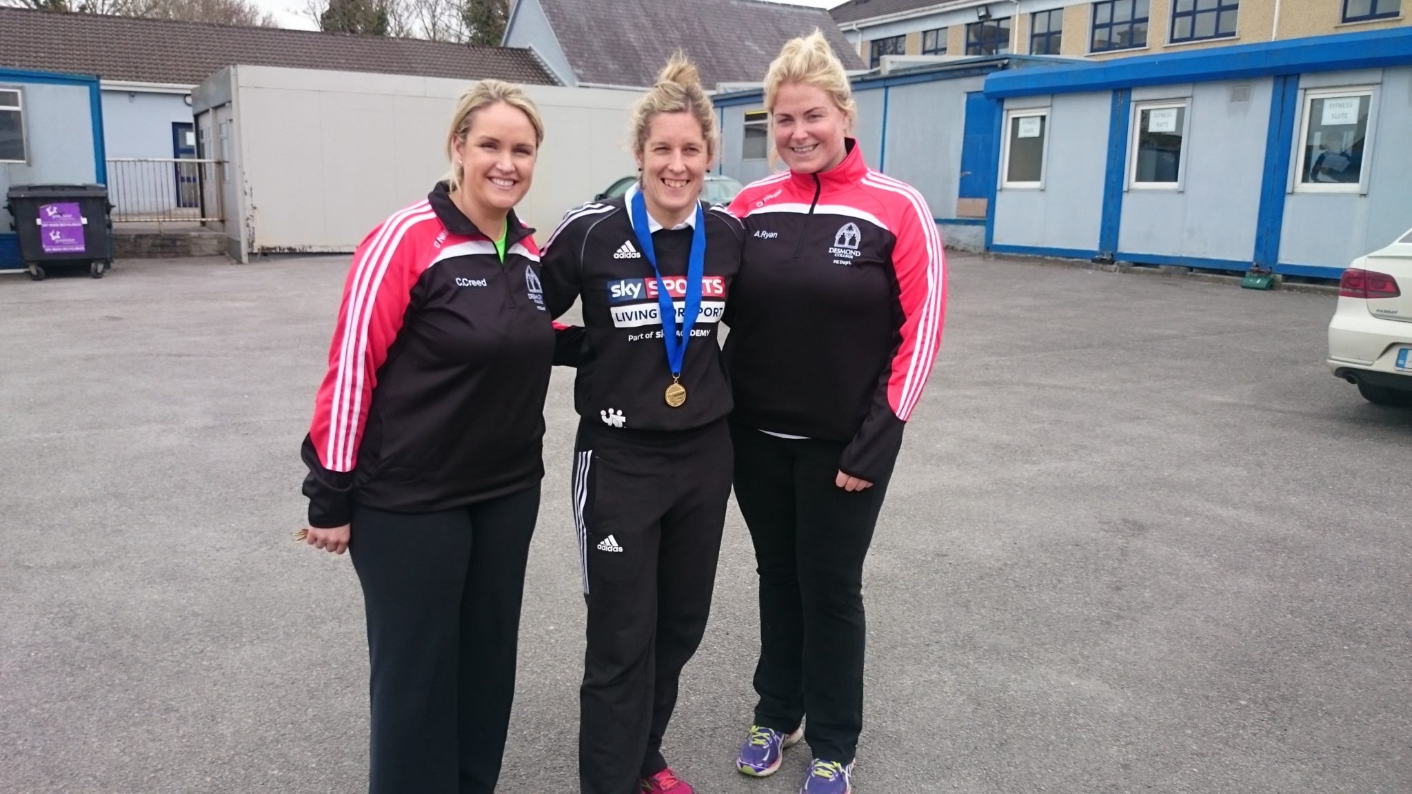 Ms Creed and Ms Ryan part of the PE Department with Alison Miller Irish Rugby Player for Desmond College's Active Schools Week April 2015