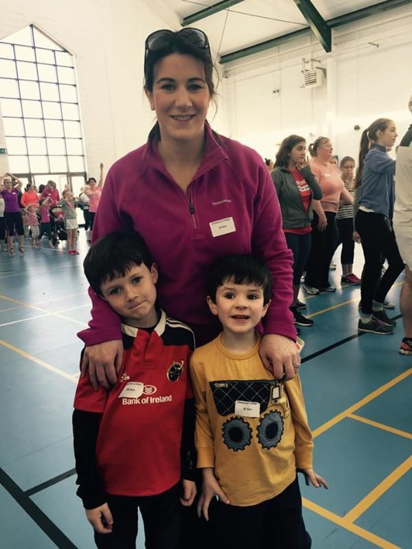 Ms Guiry with her two boys who participated in the event