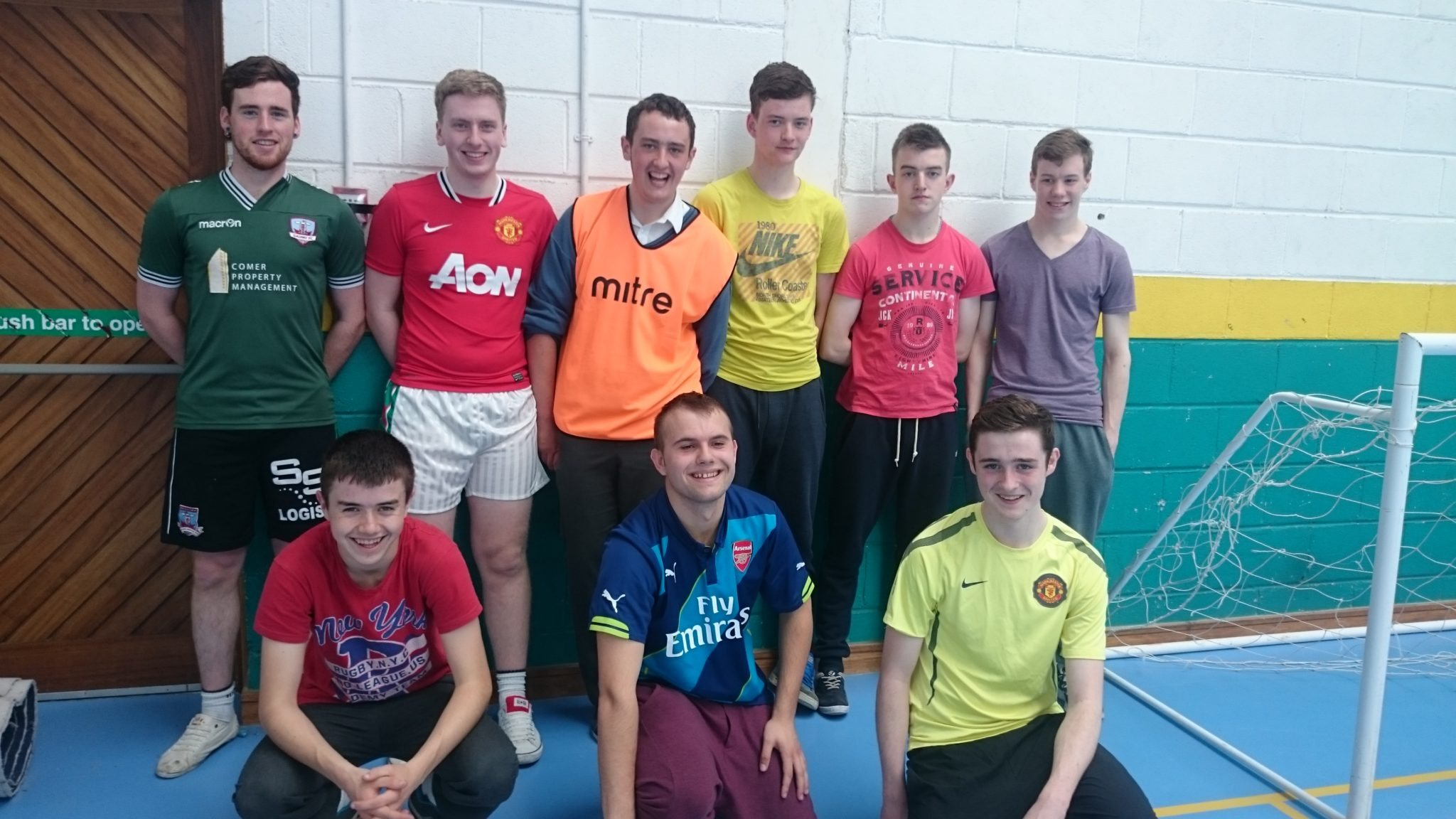 Peter Shanahan, Luke Barry, Patrick O'Connor, Darragh Breen, Daniel Barrett, Warren Gleeson, Anthony Mullins, Jimmy O'Connell and Aidan O'Connor enjoy some activities in Desmond College Active Schools Week April 2015