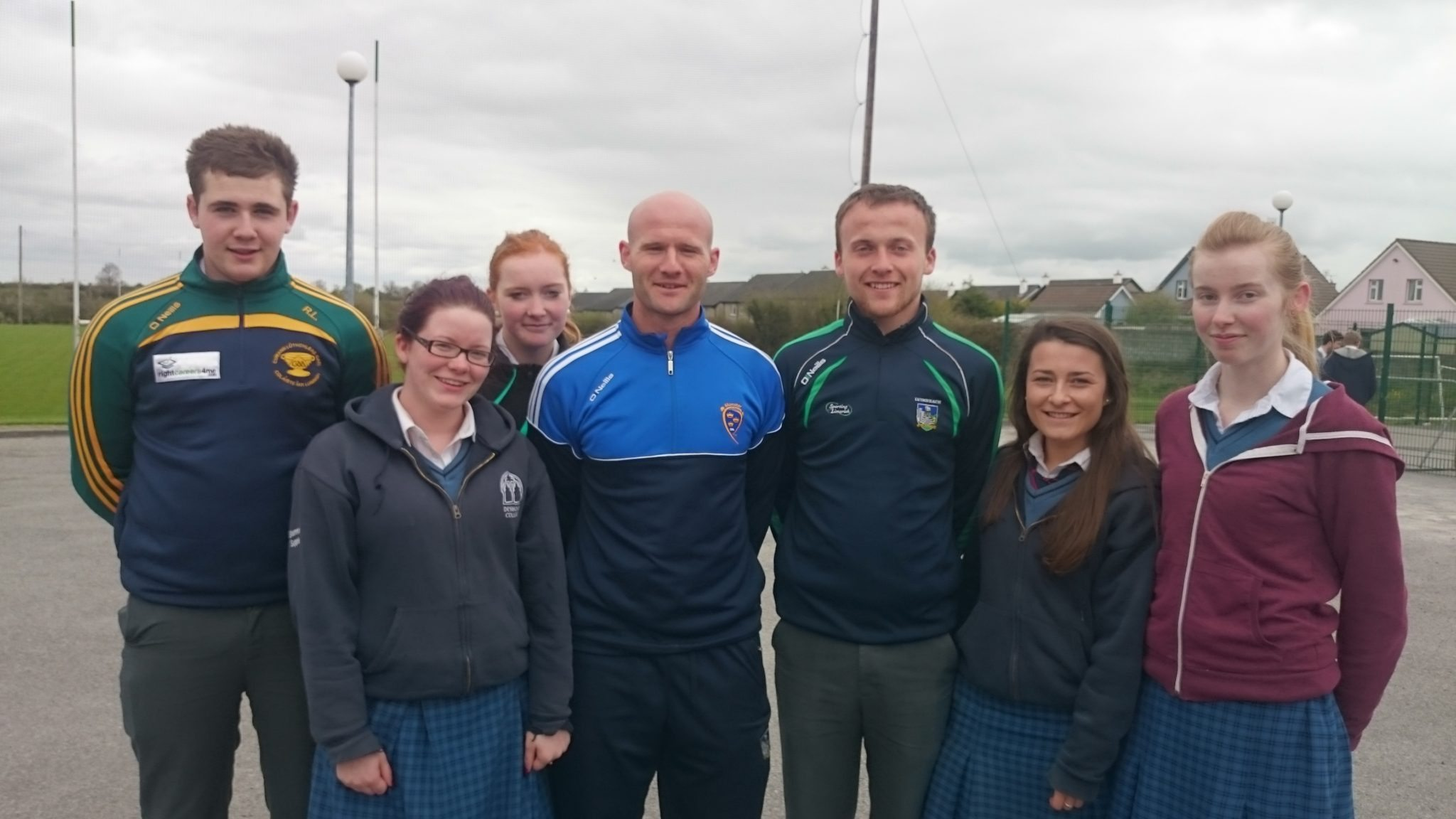 Rhys Lambardarios, Shannon Supple, Rebecca Folan, William Hurley, Leanne Browne and Sinead Liston with James Ryan at Desmond College Active Schools Week April 13th to April 17th 2015