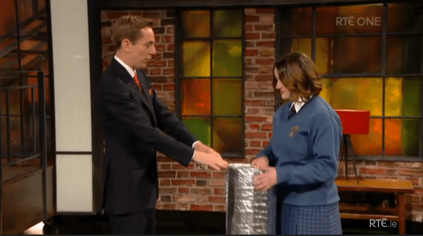 Emily Duffy from Desmond College on the Late Late Show with Ryan Tubridy April 2015
