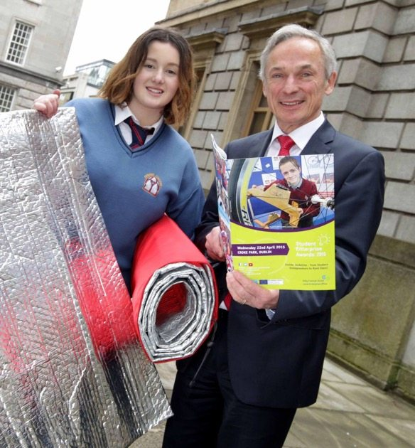 Emily Duffy, pictured with Richard Bruton TD, will be on the Late Late Show April 17th 2015, with her solution to homelessness called the Duffily Bag.