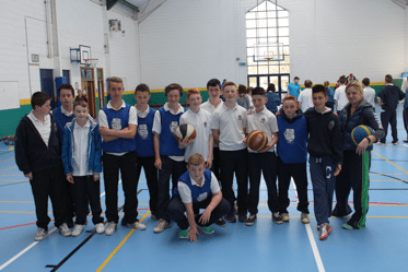 First Year Students enjoying acive Week 2015 in Desmond College with Tracey Mahedy from the Sports Partnership