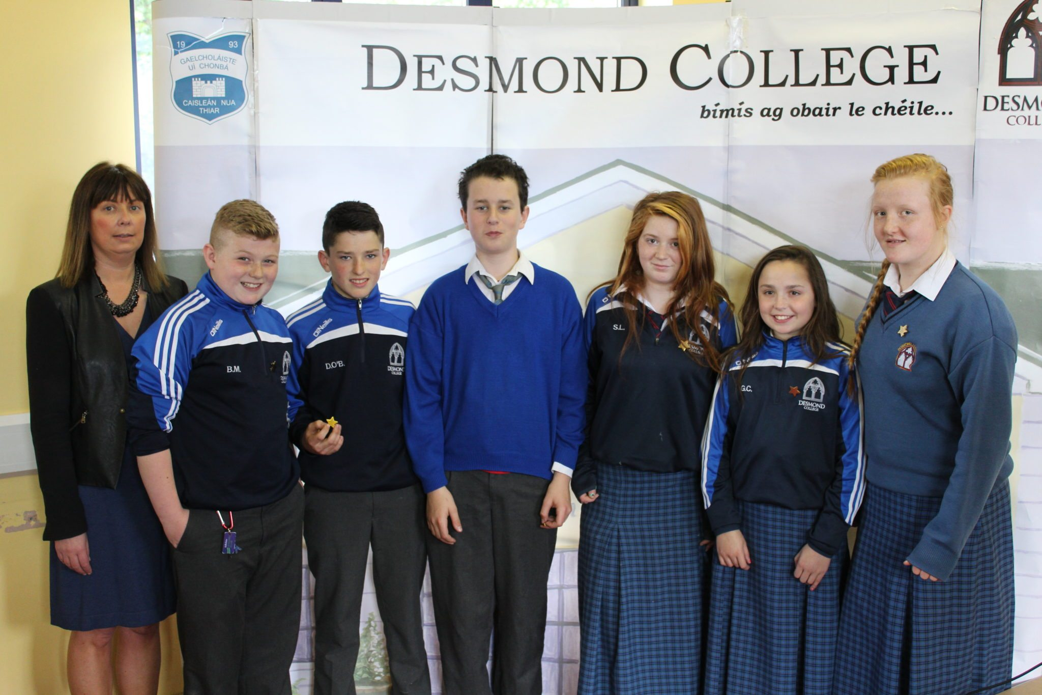 Desmond College Student Awards: May 2015: CO-OPERATION AND DILIGENCE AWARDS : 1st year : Ms Cregan with Bryan Mortell, David O'Brien, Sean O'Ceallaigh, Sarah Leahy, Genevive Collins and Ava Cashin