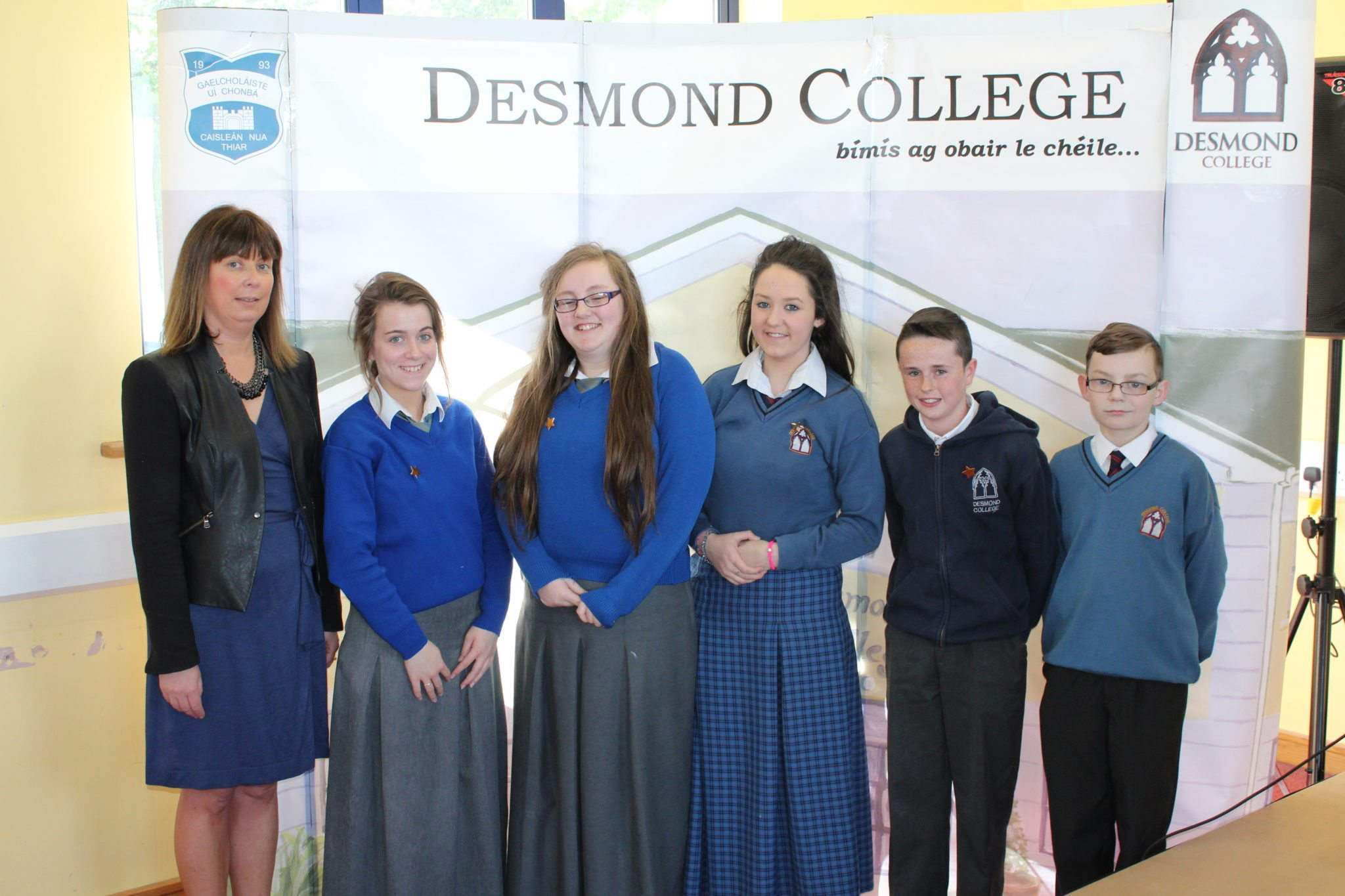 Desmond College Student Awards: May 2015: CO-OPERATION AND DILIGENCE AWARDS : 2nd year : Ms. Cregan with Rhea Crowley, Leona Mulally, Lucy Quilligan, Jack Enright and Tony O'Sullivan