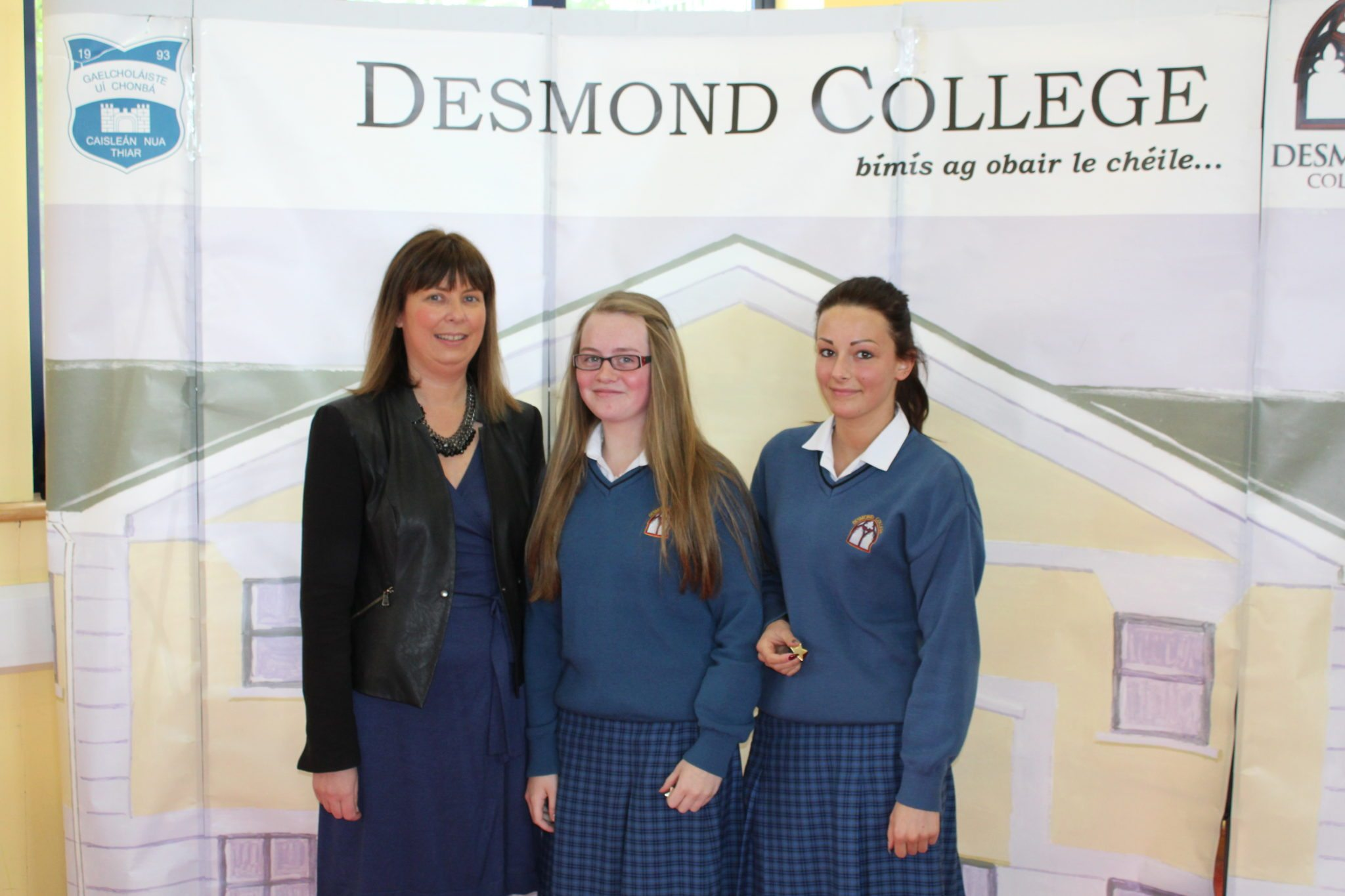Desmond College Student Awards: May 2015: CO-OPERATION AND DILIGENCE AWARDS : 3rd year : Ms Cregan with Caoimhe Danaher and Raminta Katinaite