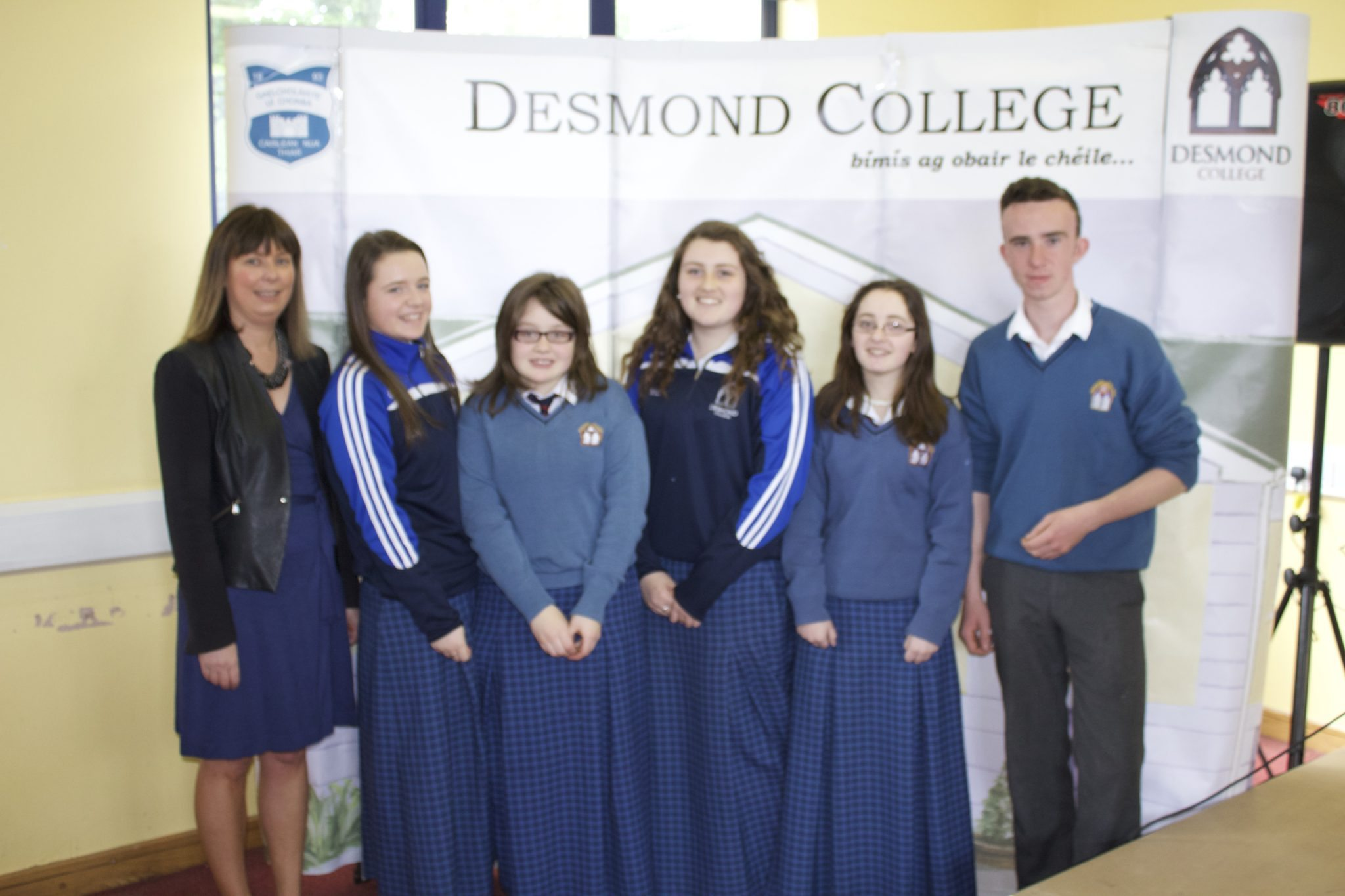 Desmond College Student Awards: May 2015: CO-OPERATION AND DILIGENCE AWARDS : 3rd year : Ms Cregan with Ciara Noonan, Amy Ryan, Mary Curtin, Sophie Bridgeman and Patrick Kenneally