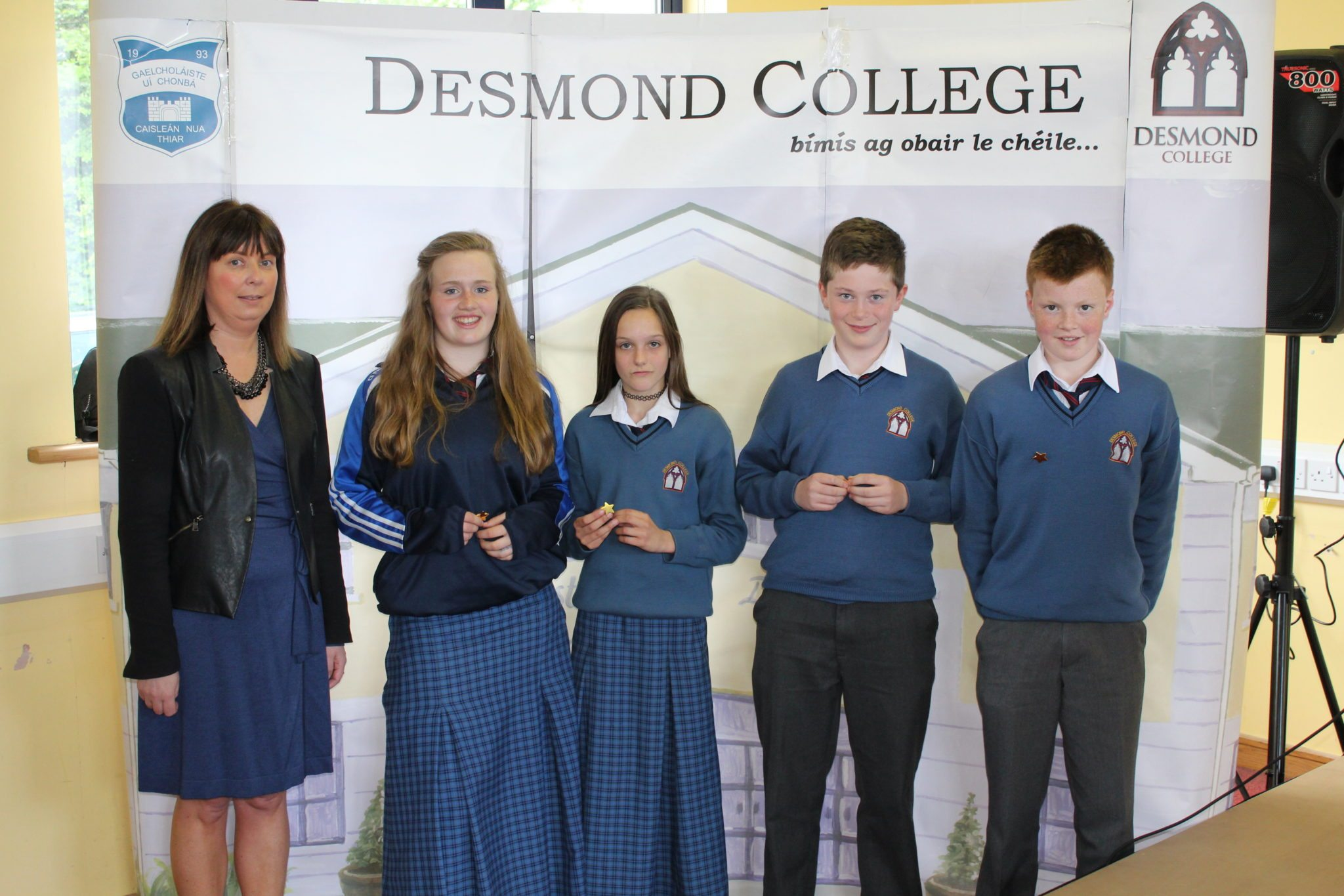 Desmond College Student Awards: May 2015: DEDICATION AND COMMITMENT AWARDS: 1st year: Ms Cregan with Breda Magner, Cliona Blenkinsop, Bryan Hartigan and Diarmuid O'Flynn