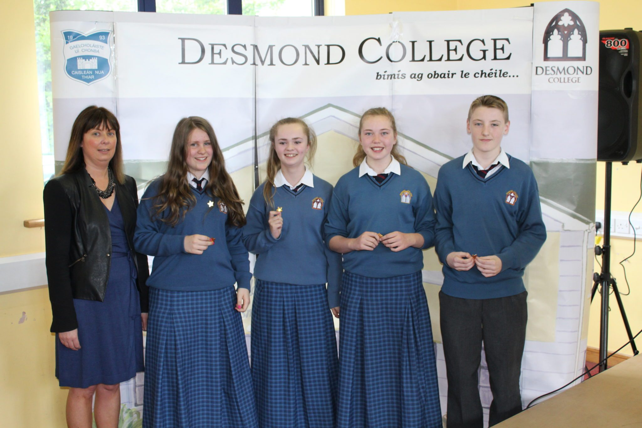 Desmond College Student Awards: May 2015: DEDICATION AND COMMITMENT AWARDS: 1st year: Ms Cregan with Sophie Lenders, Kelli Gayer Siobhán Hurley and Gavin Massey