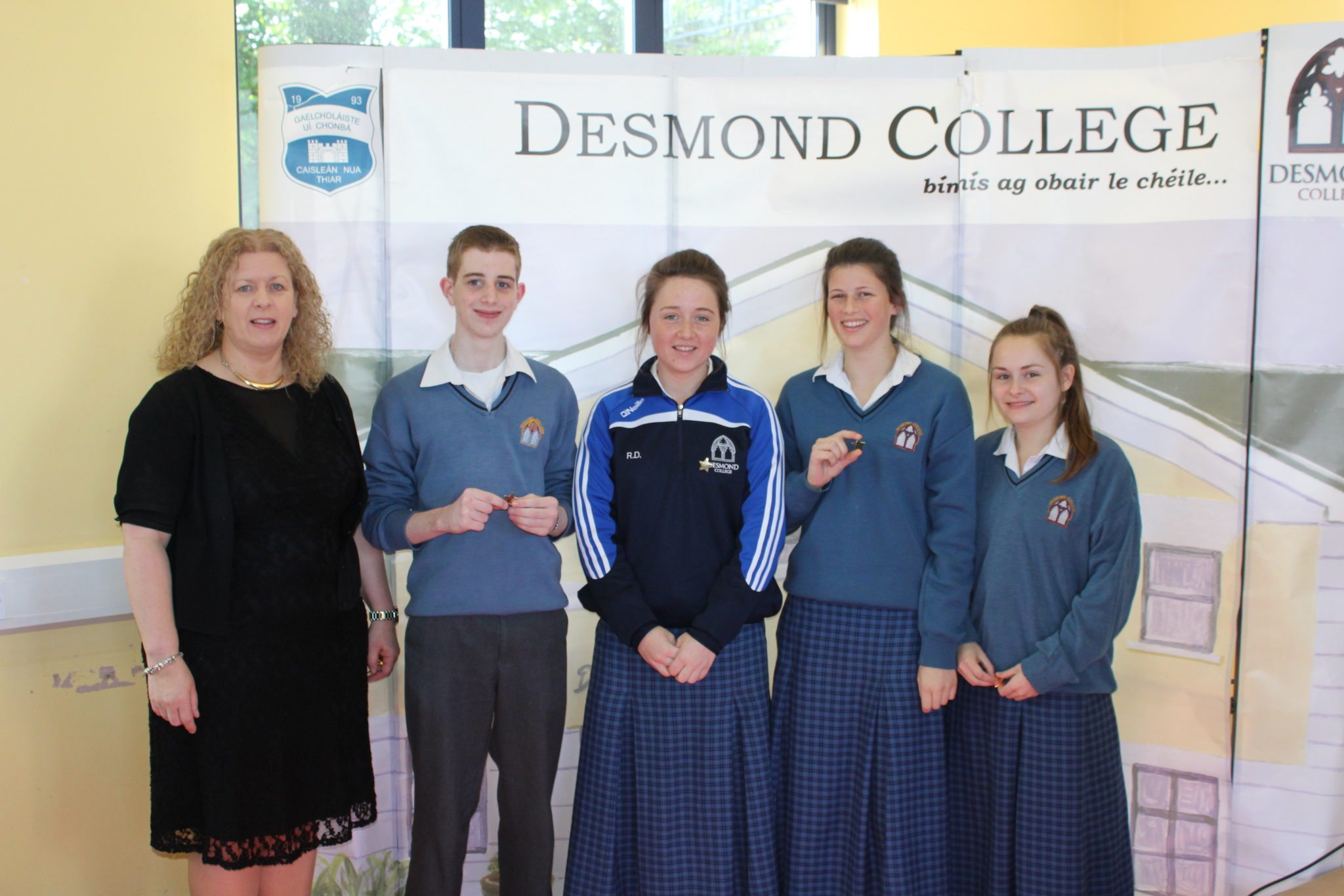 Desmond College Student Awards: May 2015: DEDICATION AND COMMITMENT AWARDS: 5th year : Ms Gavin Barry with Garvin Crowley, Rachel Dore, Madeleine O'Doherty, and Danielle O'Connor