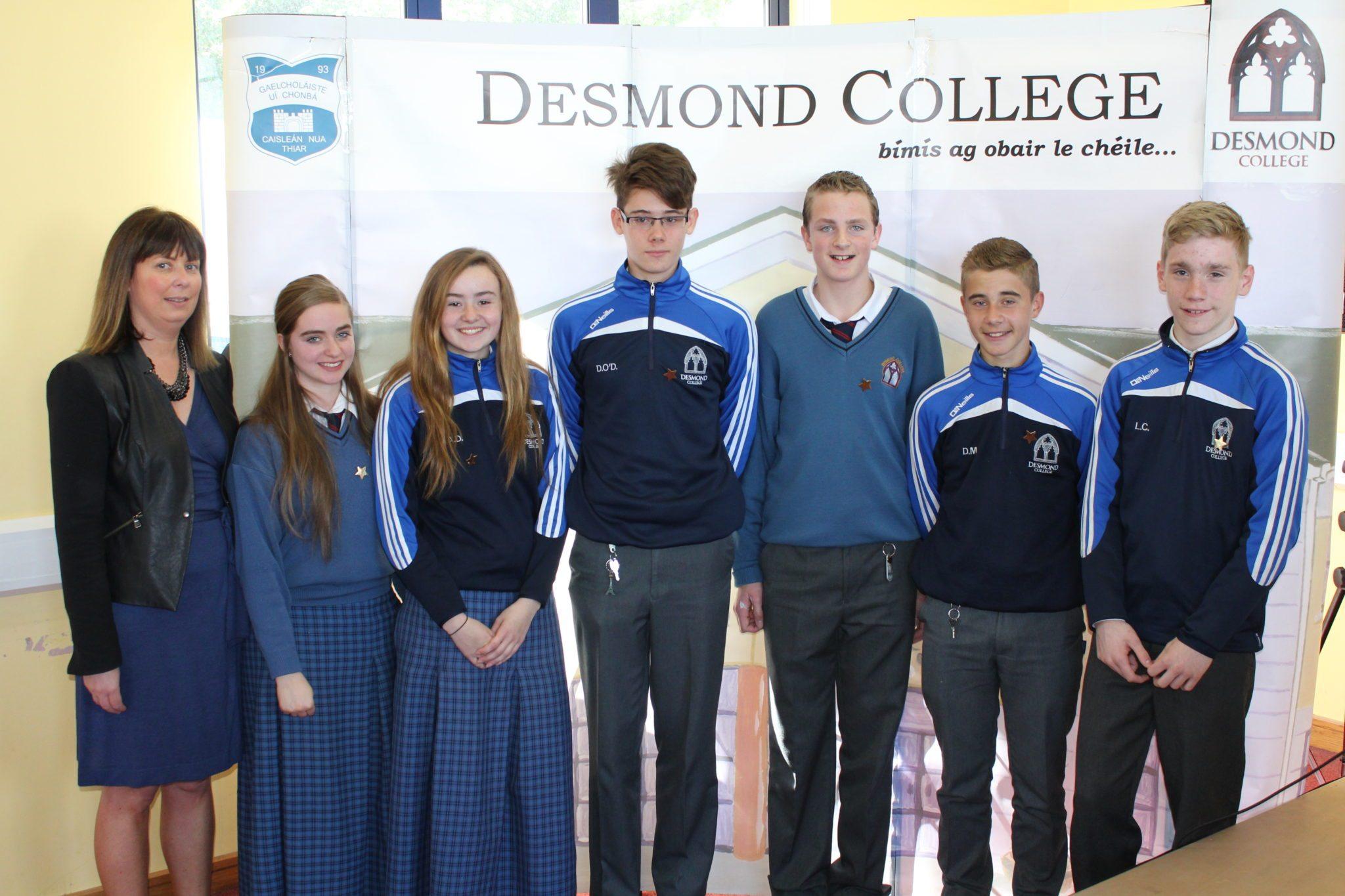 Desmond College Student Awards: May 2015: DEDICATION AND COMMITMENT AWARDS: 2nd year : Ms Cregan with Clodagh O'Keefe, Alice Duffy, David O'Donovan, Jason Ryan, Dylan Moloney, Liam Callinan