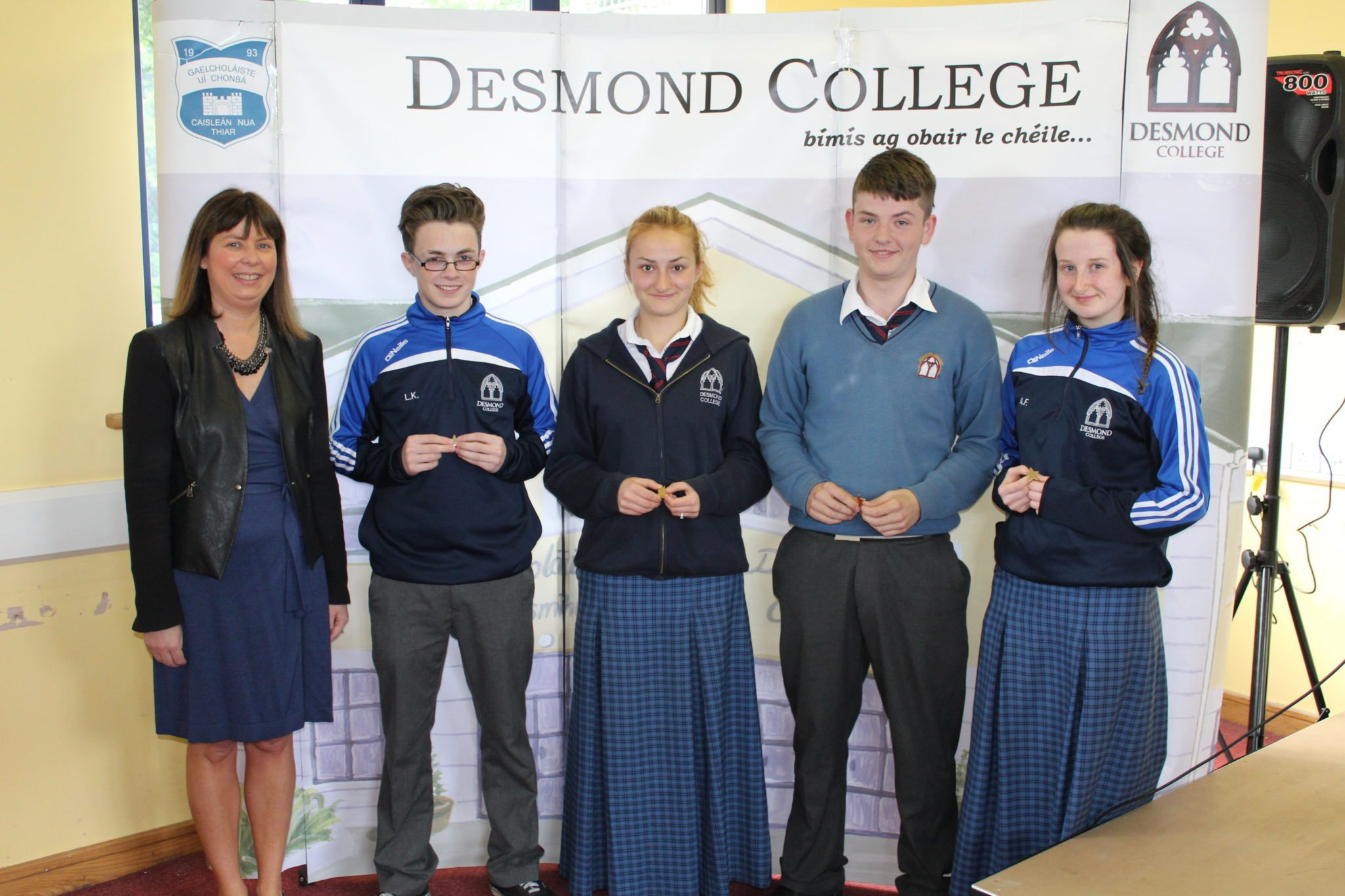 Desmond College Student Awards: May 2015: DEDICATION AND COMMITMENT AWARDS: 3rd year: Ms Cregan with Liam King, Elena Encheva, Colm Copse, and Aine Feely