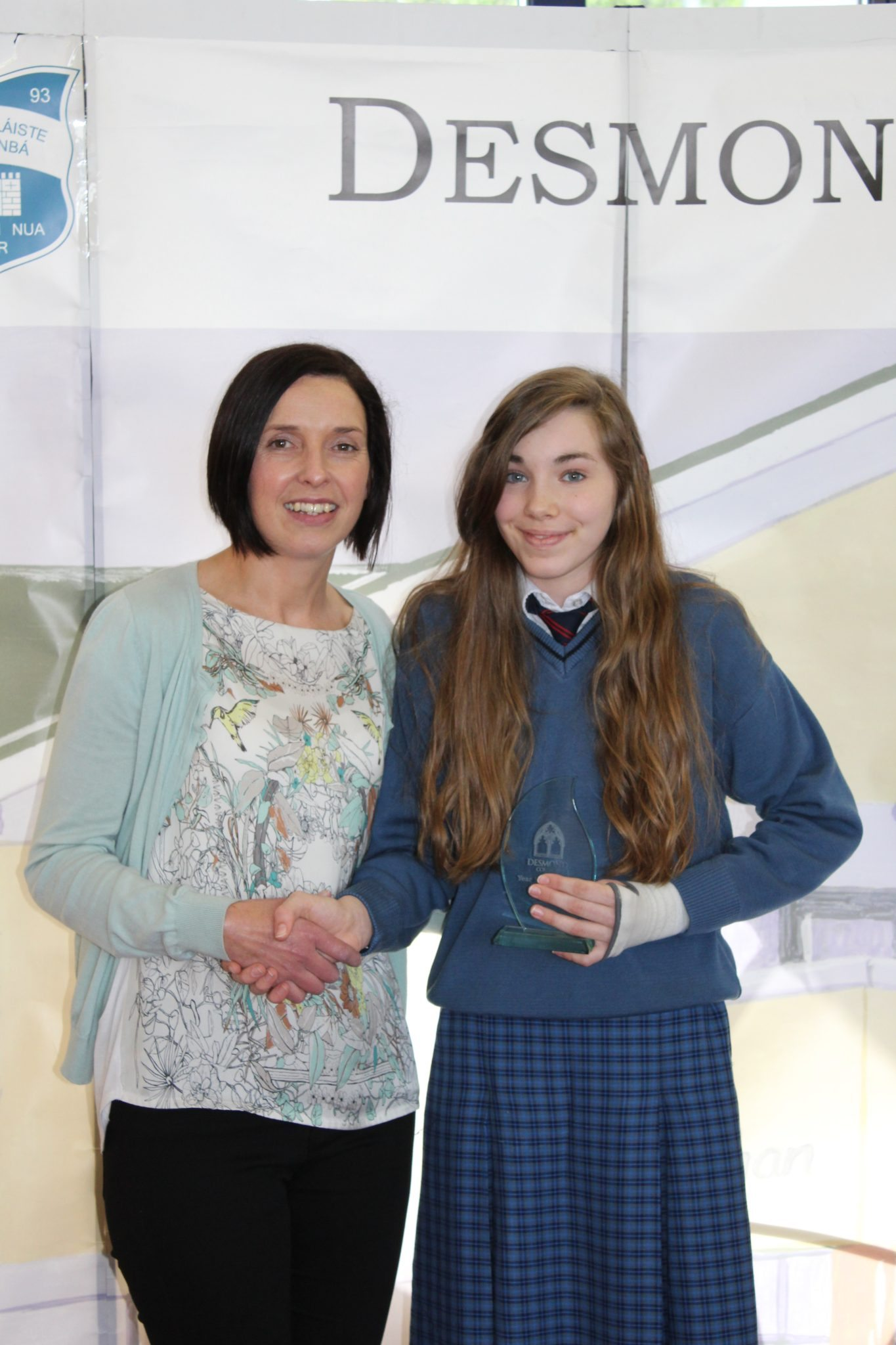 Desmond College Student Awards: May 2015: YEAR HEAD AWARDS : 1st Year : Ms O'Grady with Eve Montgomery