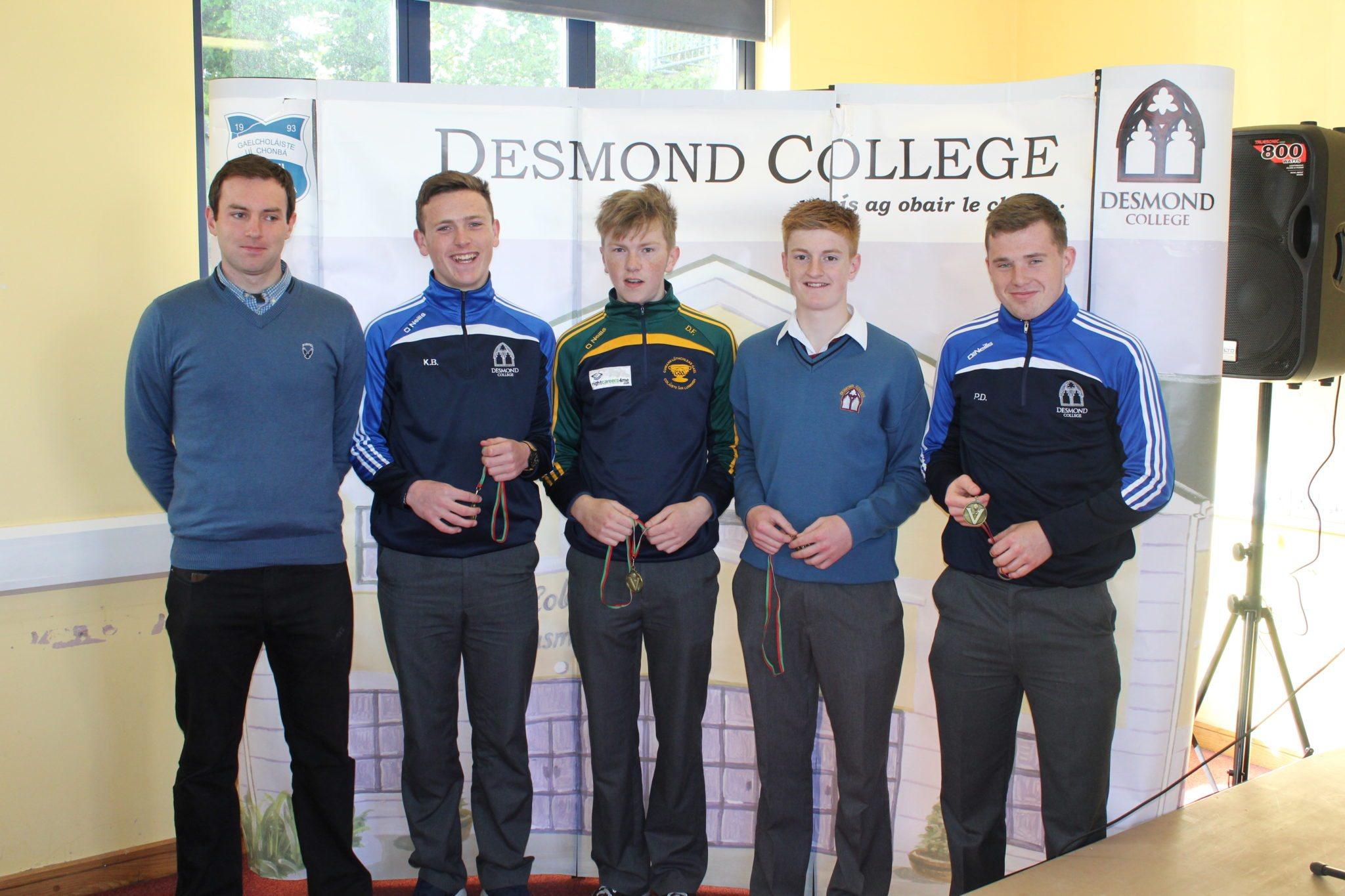 Desmond College Student Awards: May 2015: SPORTS AWARDS Fifth year : Mr Bourke with Cillian Brouder, Daniel Flynn, Miceal O'Flynn and Padraigh Dore