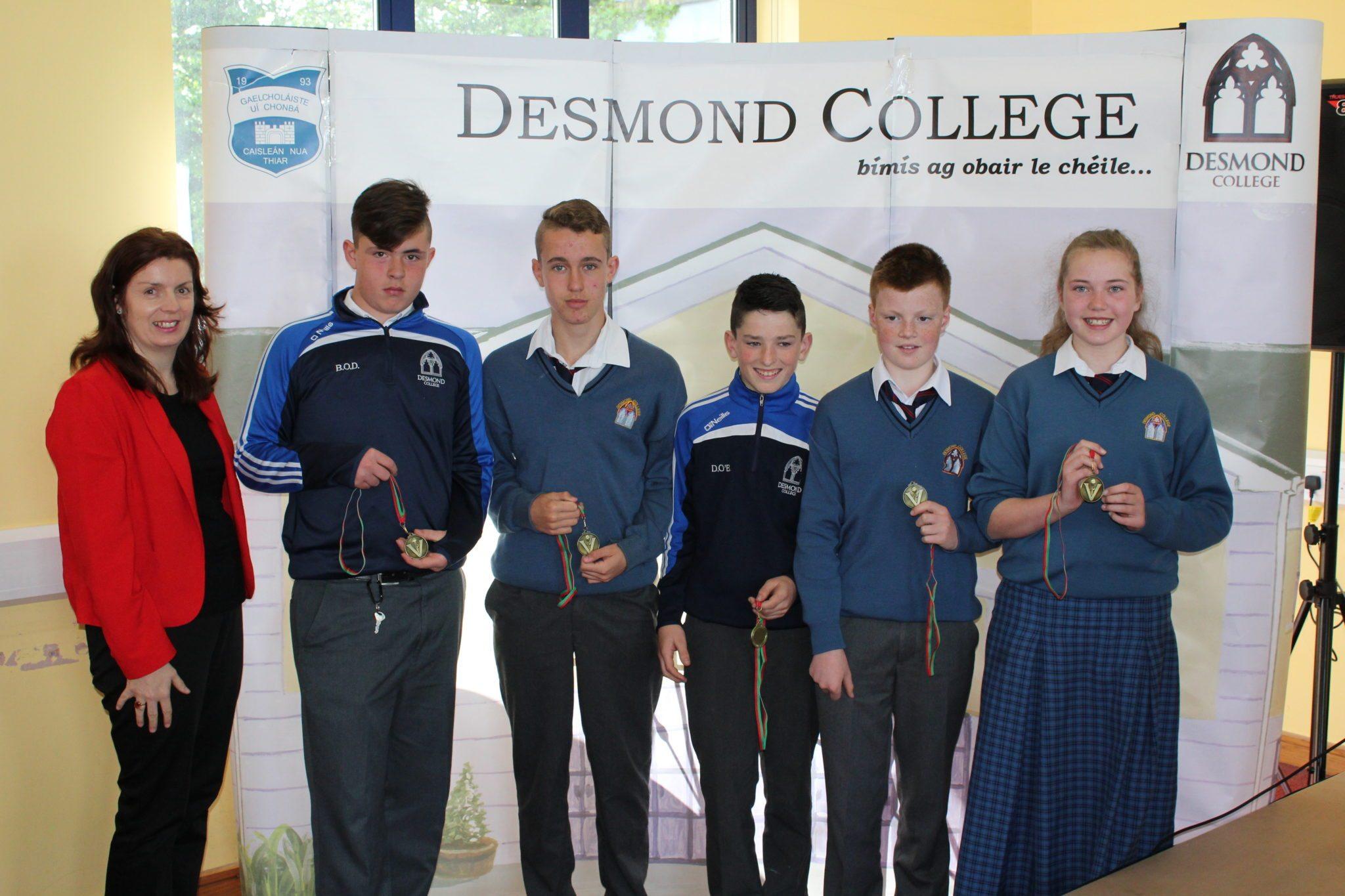 Desmond College Student Awards: May 2015: SPORTS AWARDS First year : Ms Walsh with Bobby O'Donovan, Michael Conlon, David O'Brien, Diarmuid O'Flynn, and Siobhan Hurley
