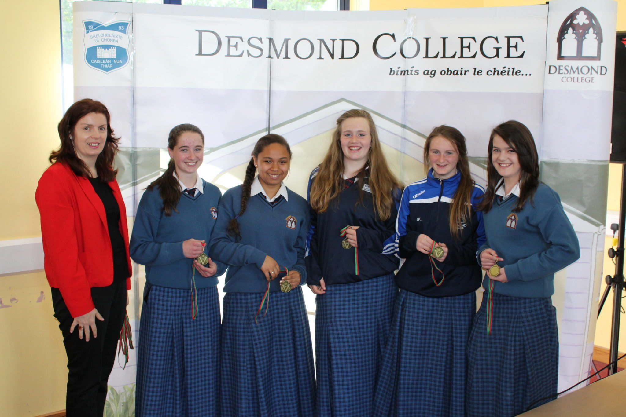 Desmond College Student Awards: May 2015: SPORTS AWARDS First year : Ms Walsh with Catherine Cahill, Latina Massey, Breda Magner, Irish Kenneally, Clodagh McNamee