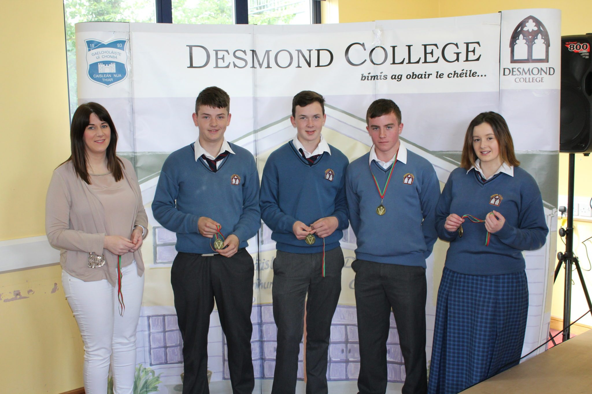 Desmond College Student Awards: May 2015: SPORTS AWARDS 3rd Year : Ms Guiry with Colm Copse, Denis Cronin, Noelie Griffen and Emily Duffy