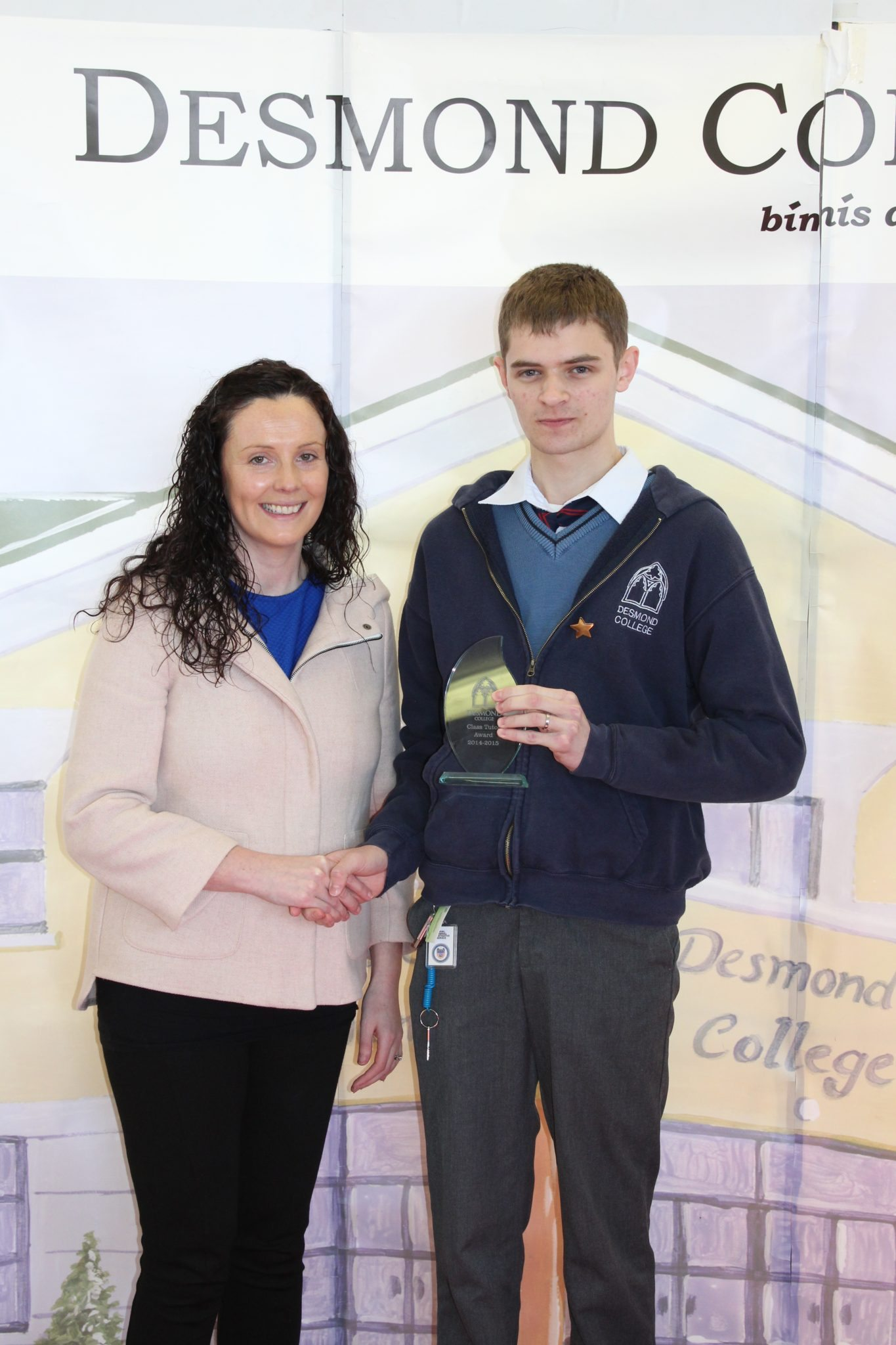 Desmond College Student Awards: May 2015: TUTOR AWARDS 5th Year : Ms Broderick with Sean Dillon