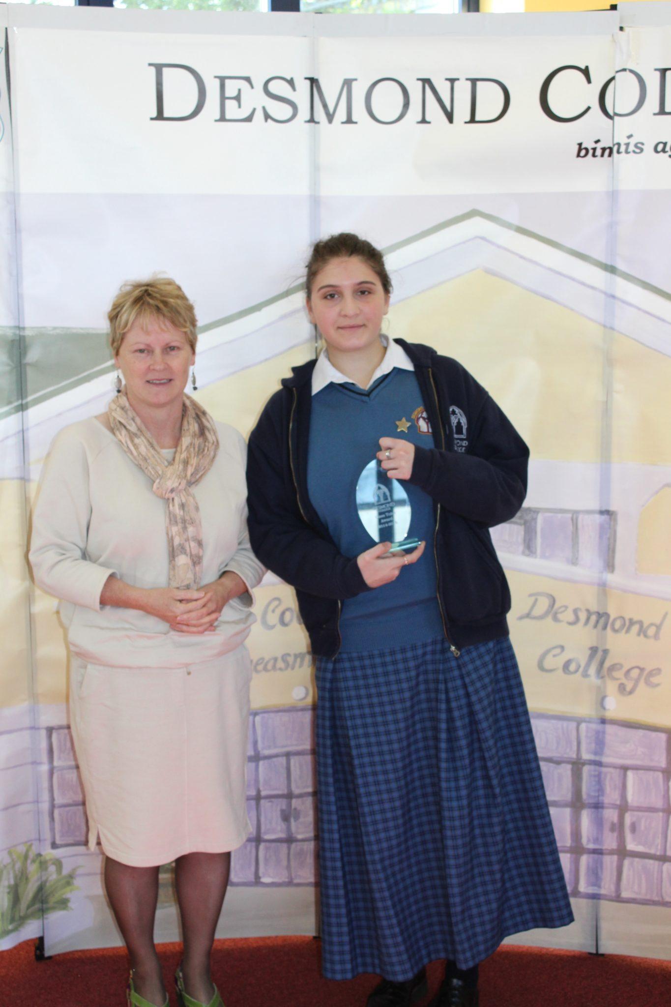 Desmond College Student Awards: May 2015: TUTOR AWARDS 5th Year : Muinteoir Siobhán with Anna Maria Conversano