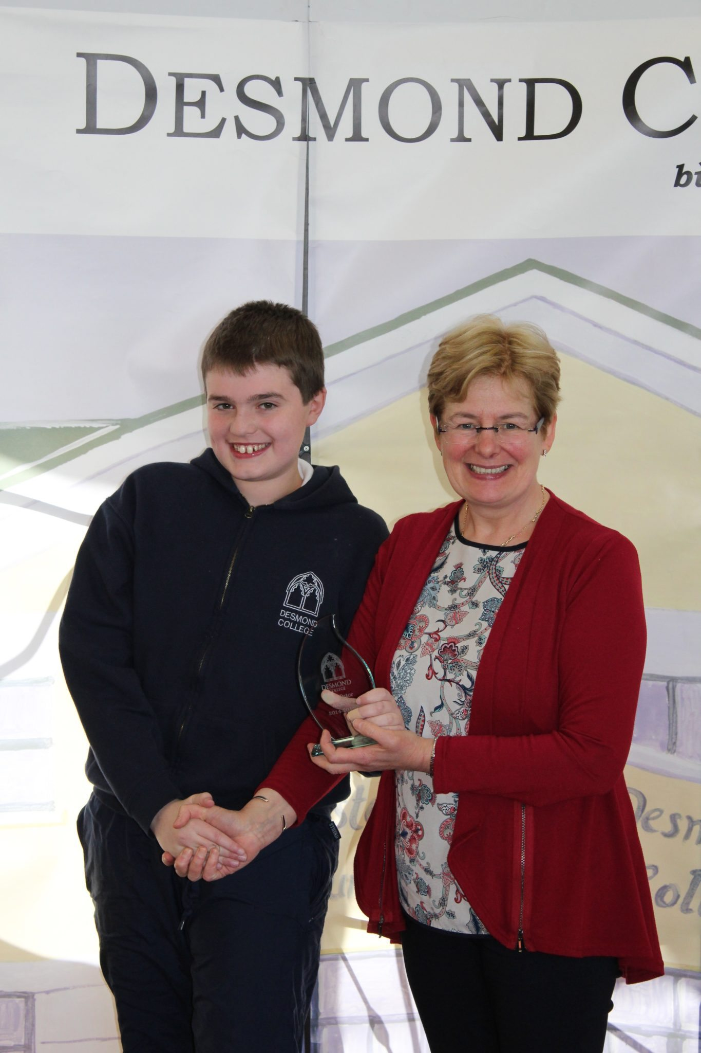 Desmond College Student Awards: May 2015: TUTOR AWARDS 1st Year : Ms Hannon with Alan Wallace