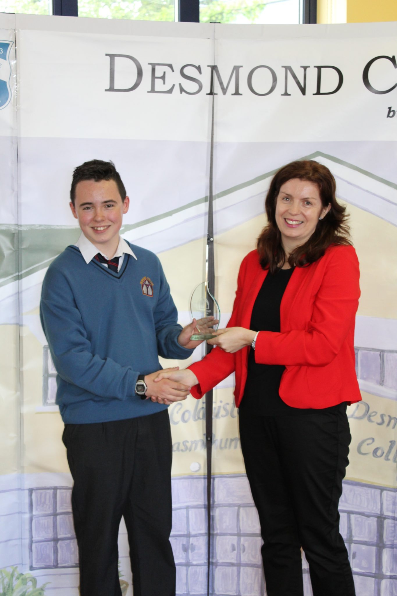 Desmond College Student Awards: May 2015: TUTOR AWARDS 1st Year : Ms Walsh with James Shephard