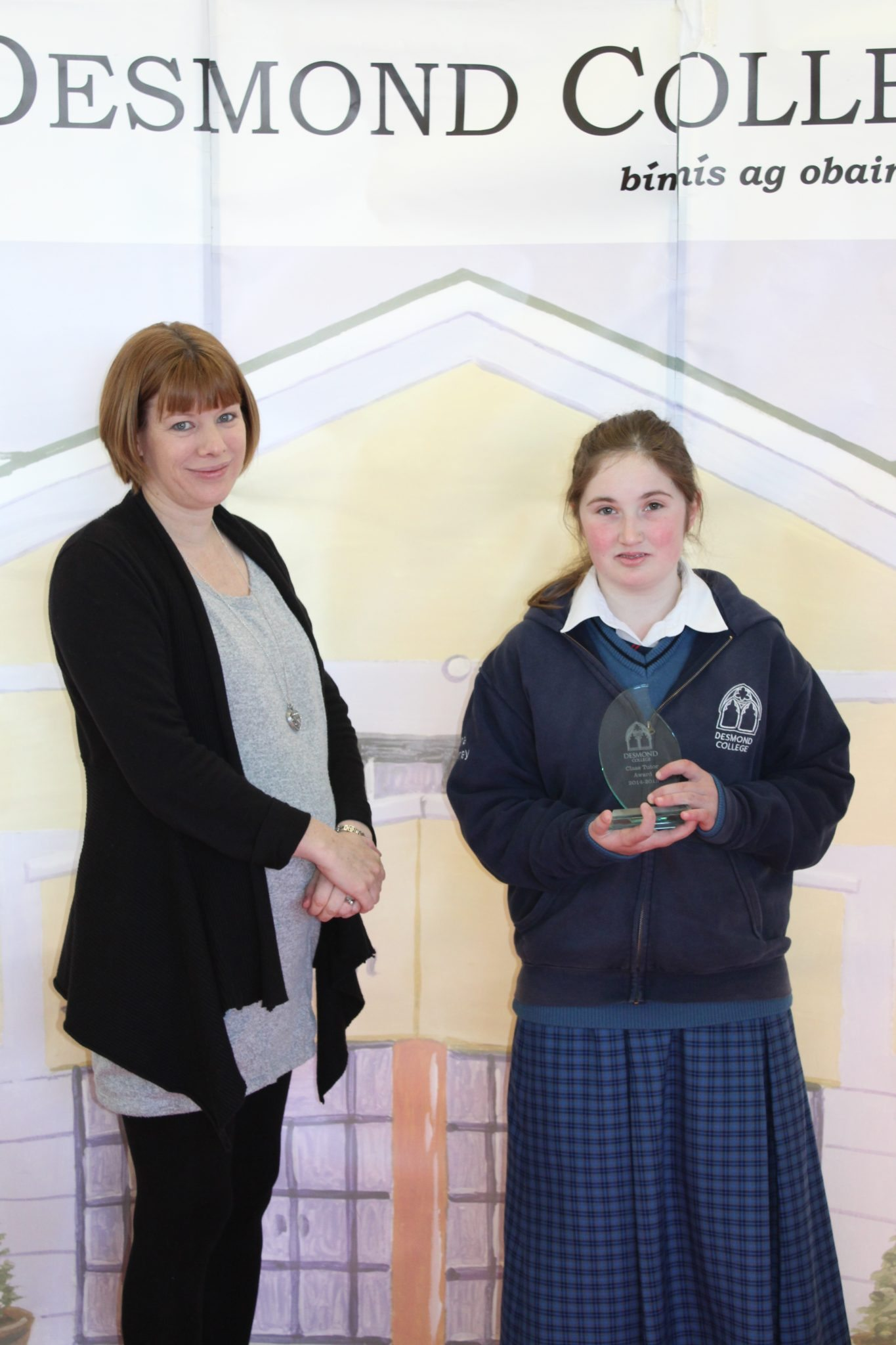 Desmond College Student Awards: May 2015: TUTOR AWARDS LCA1 : Ms Keane with Alana Moloney