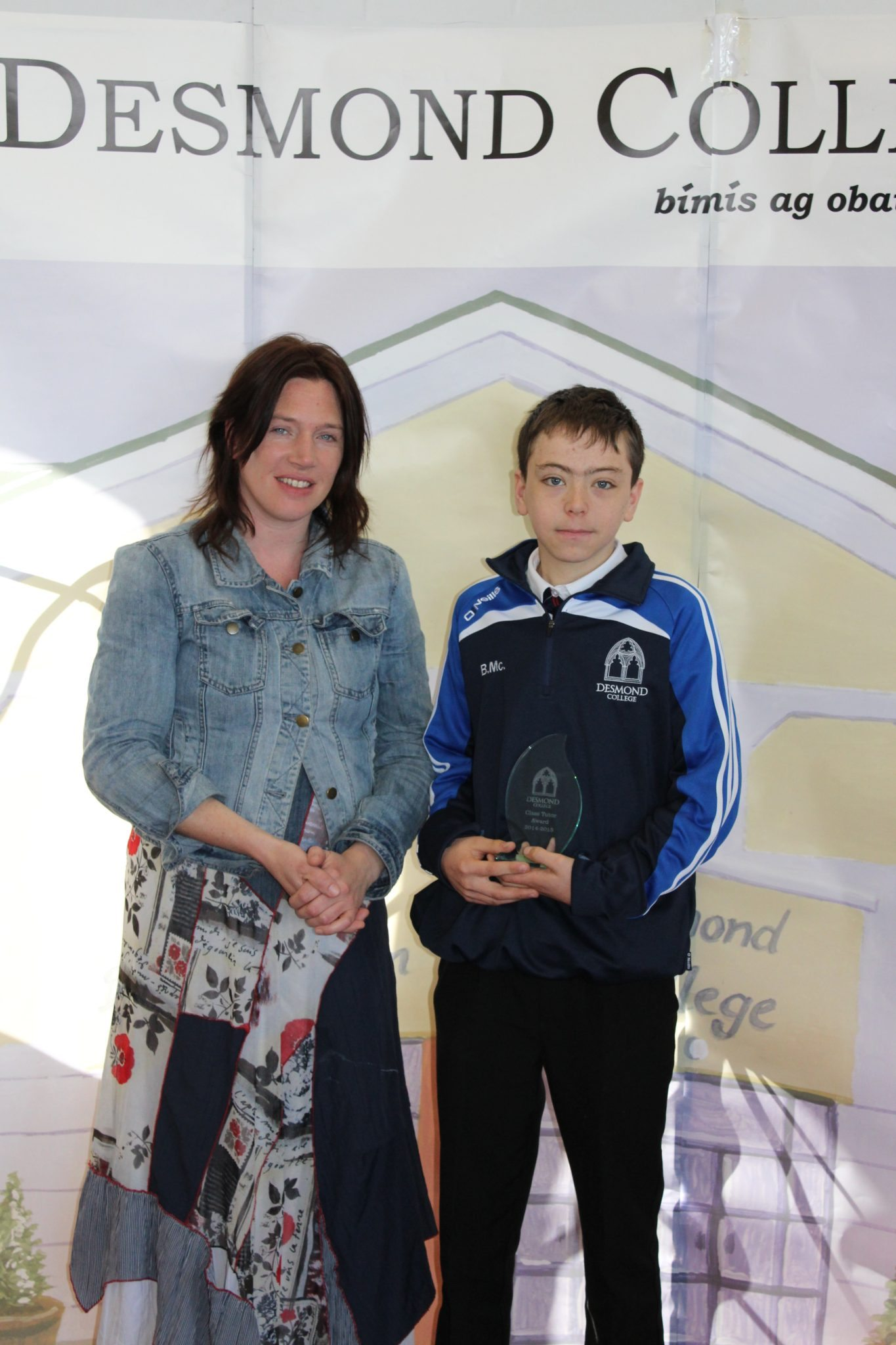 Desmond College Student Awards: May 2015: TUTOR AWARDS 2nd Year : Ms Barry with Ben McCormick