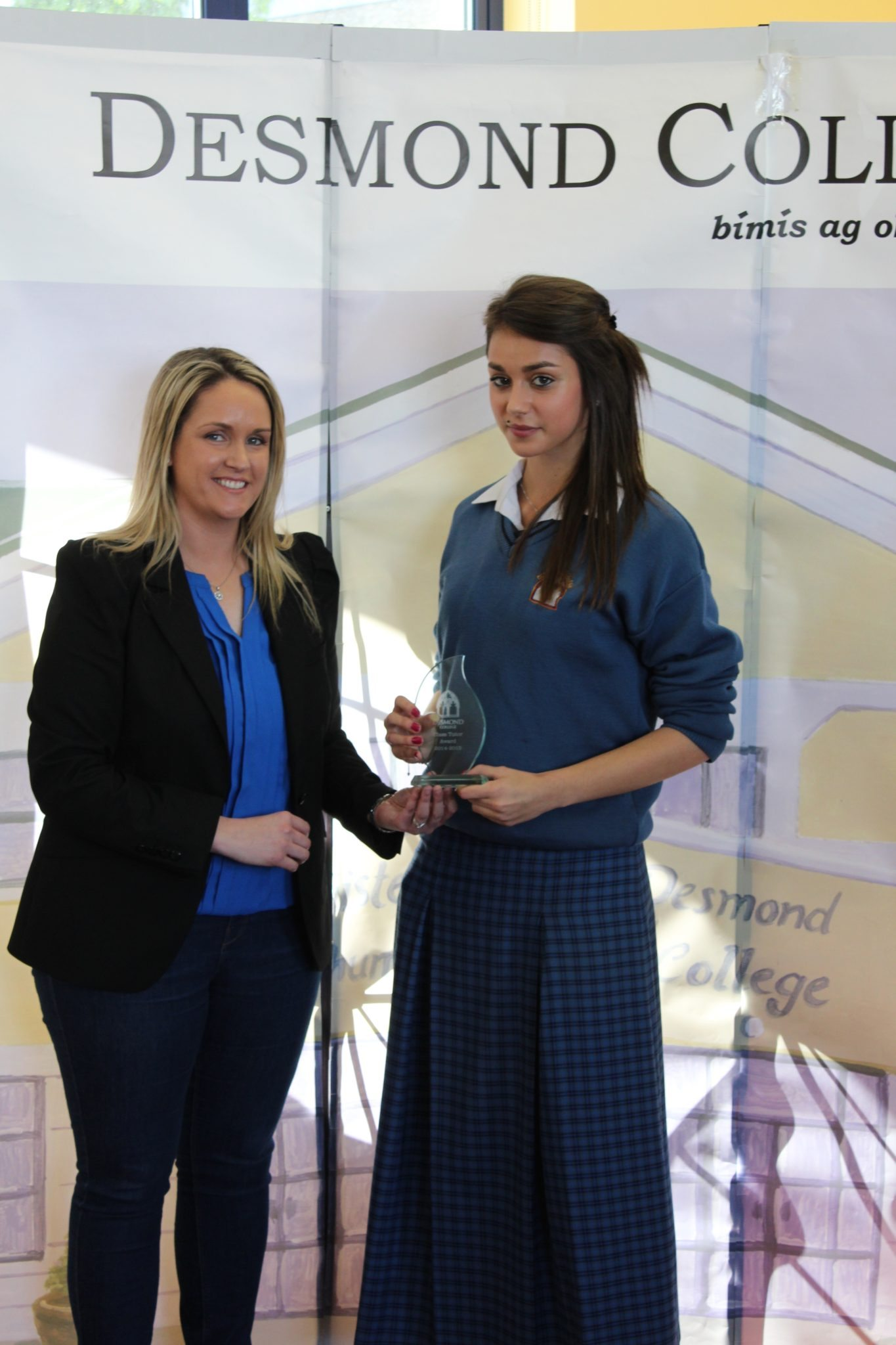 Desmond College Student Awards: May 2015: TUTOR AWARDS 2nd Year : Ms Creed with Laura Papierowska