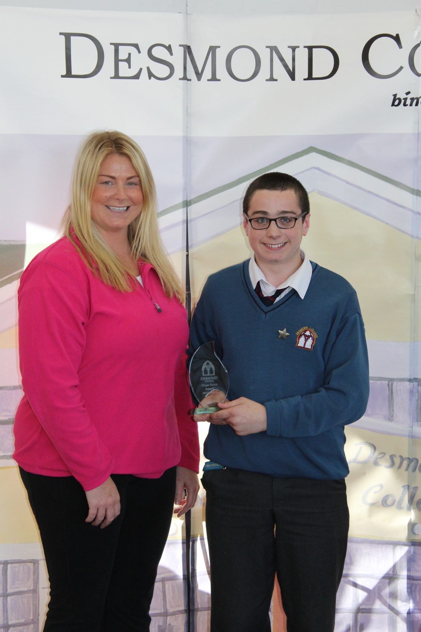 Desmond College Student Awards: May 2015: TUTOR AWARDS 2nd Year : Ms Ryan with Jeremiah Cahill