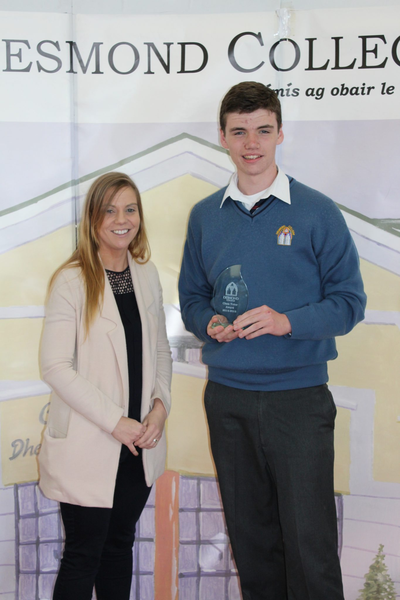 Desmond College Student Awards: May 2015: TUTOR AWARDS 3rd Year : Ms Corkery with Mark Cahill