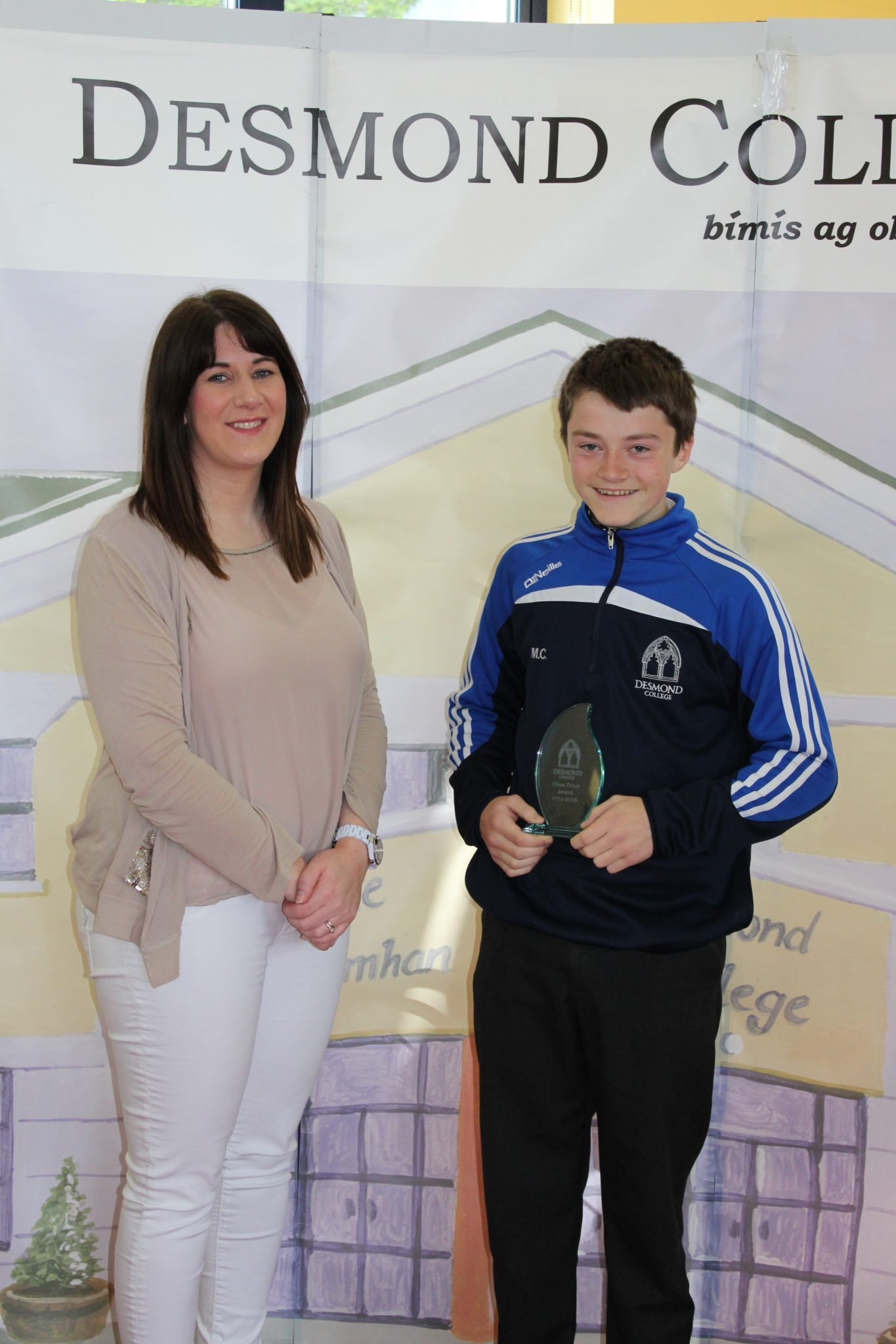Desmond College Student Awards: May 2015: TUTOR AWARDS 3rd Year : Ms Guiry with Michael Collins