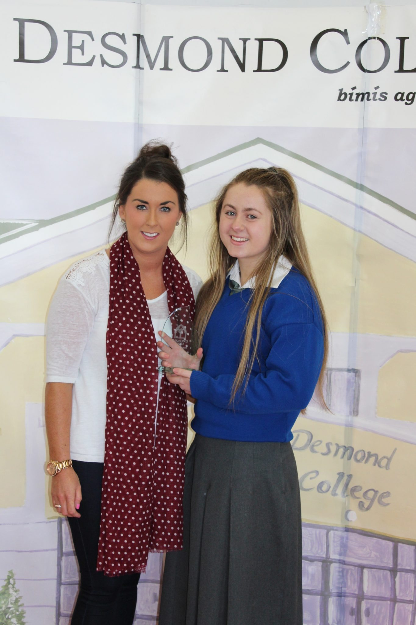 Desmond College Student Awards: May 2015: TUTOR AWARDS 3rd Year : Ms Kelly with Leah Barry