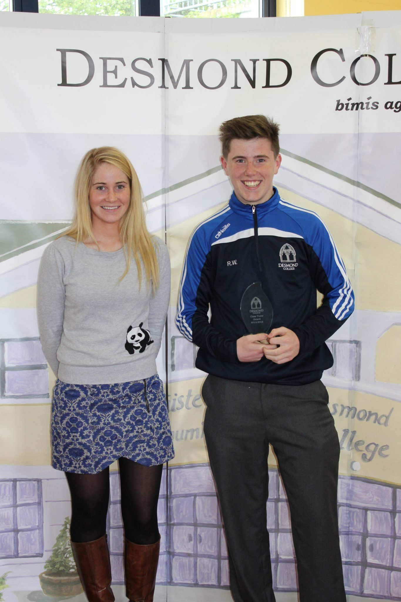 Desmond College Student Awards: May 2015: TUTOR AWARDS 3rd Year : Ms O'Doherty with Ryan White