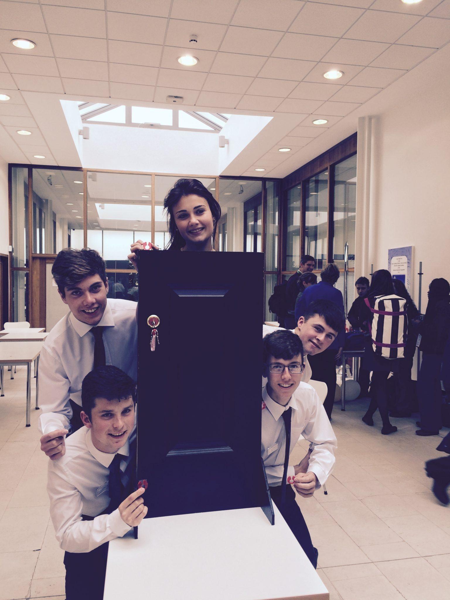 Junior Achievement Award Winners from Desmond College: Diarmuid Curtin, Seamus Hurley, Emma Herbert, Eoin Considine and Eamonn Browne