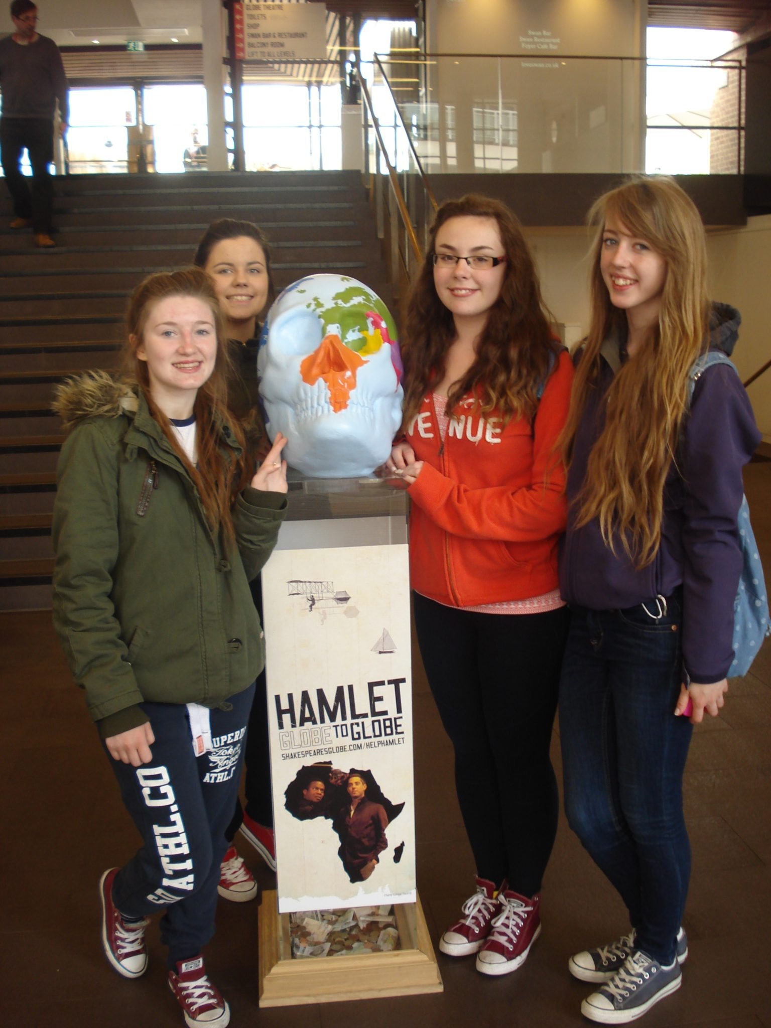 Sara Flatley, Lauren Moloney, Chloe Collins and Orla Wren from Desmond College at Shakespeares the Globe Theatre while on their school trip to London England April 2015