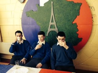 Sean O'Ceallaigh, Michael Murphy and Brandon Nash enjoy some breakfast by the Eiffel Tower