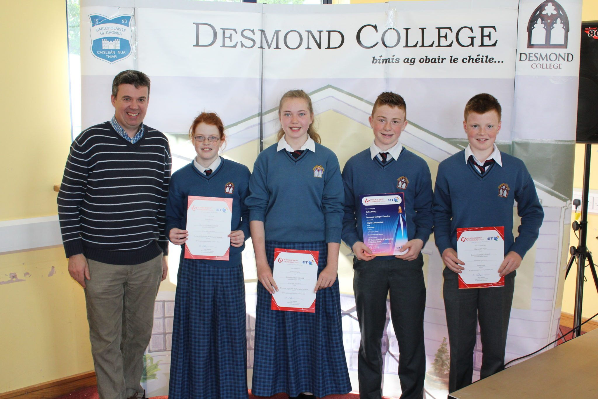 Desmond College Student Awards May 2015 : Young Scientist Awards : Mr. Colm Lowe, Claire Nolan, Siobhan Hurley Jack Corkery, Michael O'Flynn