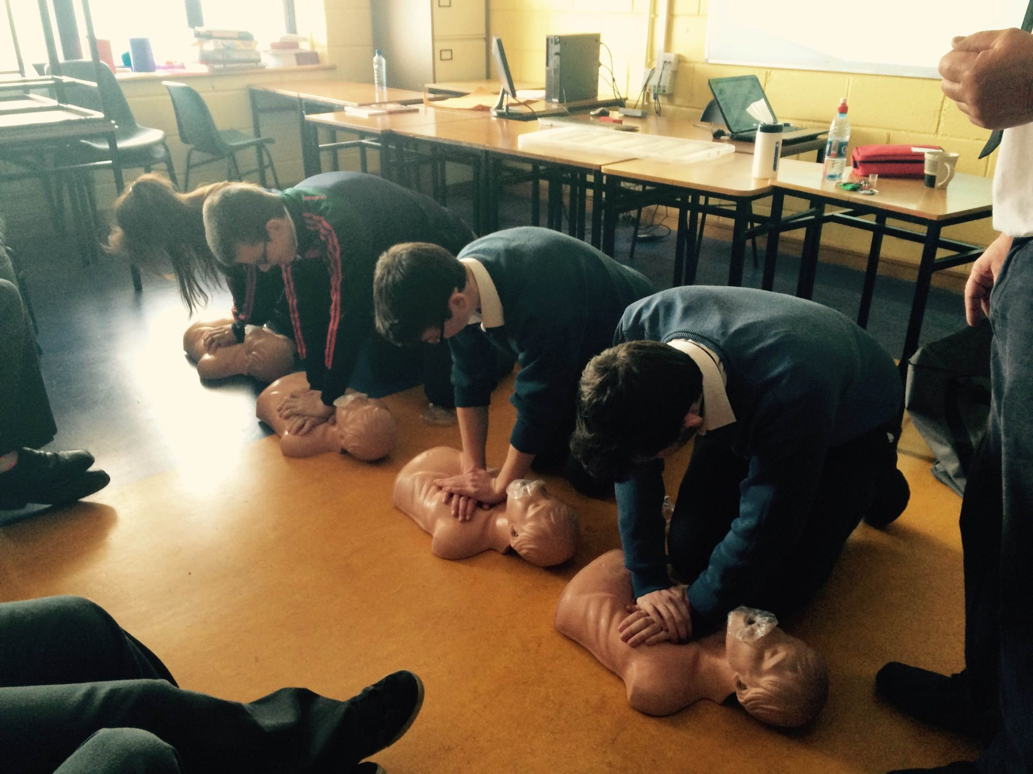 Desmond College students acquire competency in performing CPR as part of the Transition Year First Aid Certificate: May 2015