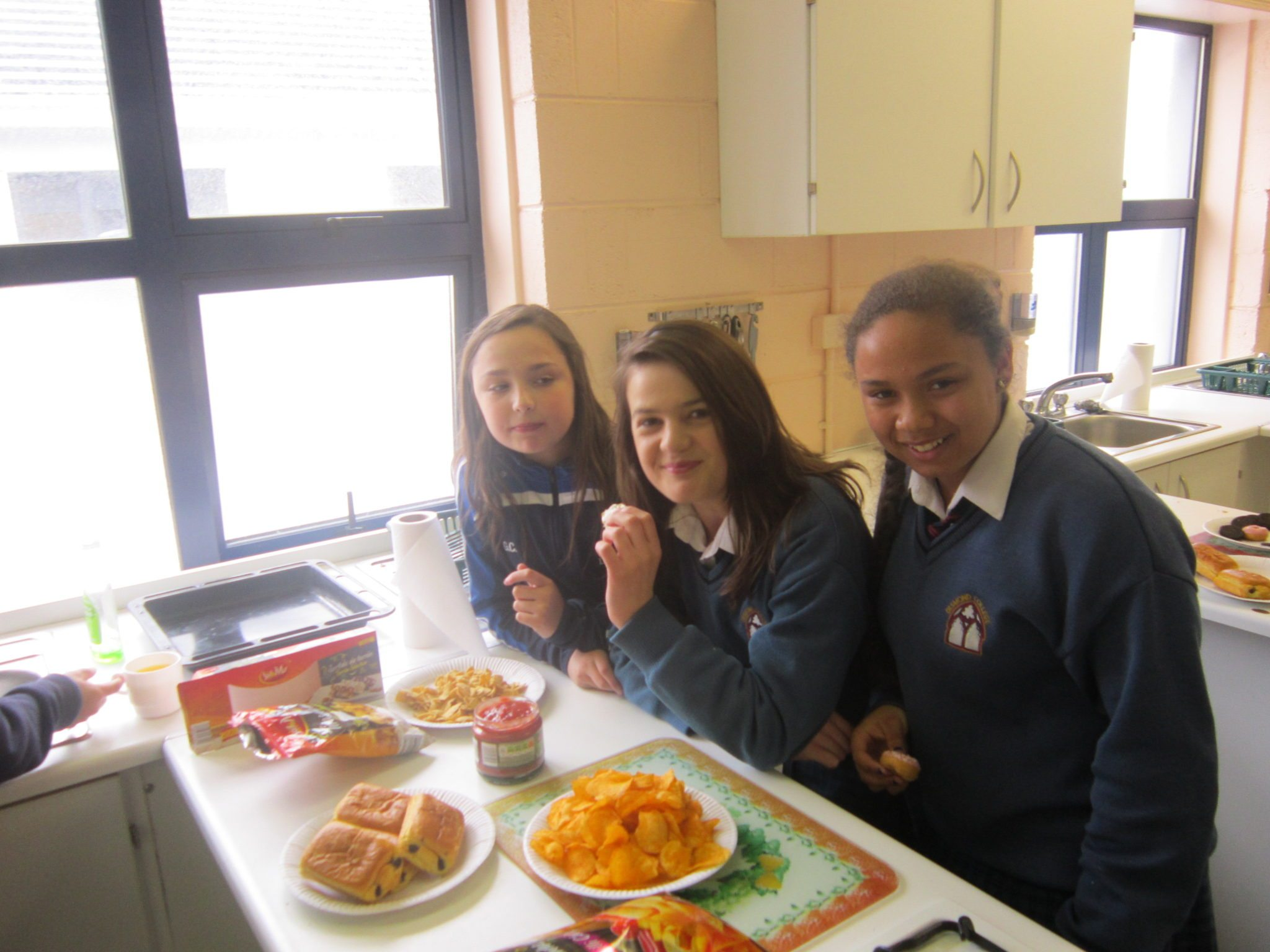 Desmond College First Year Spanish Class Enjoying Spanish Food as part of their Spanish Studies: Genevive Collins, Cloadagh McNamee, Latina Massey