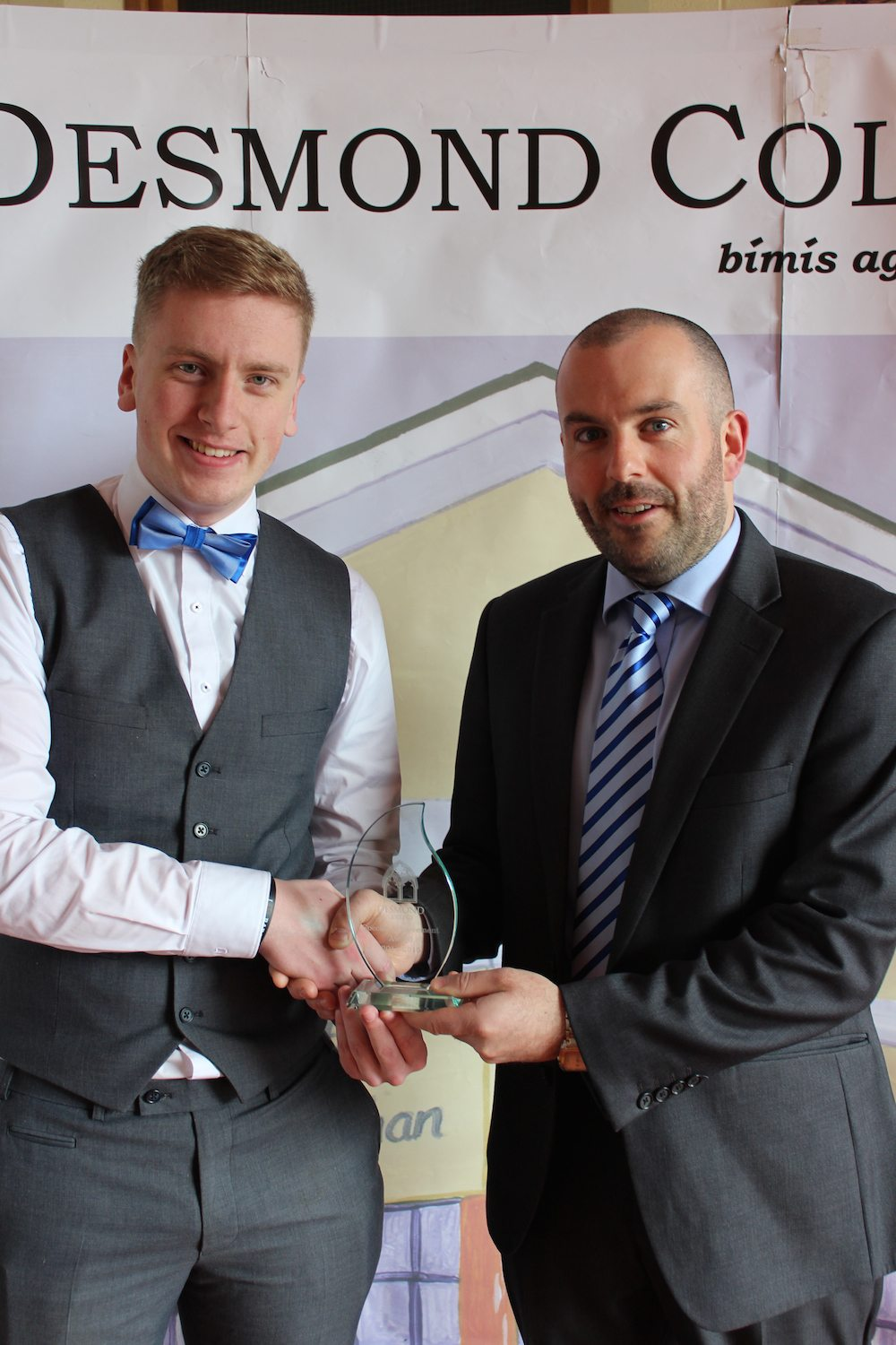Desmond College Leaving Certificate Graduation 2015: Dedication and Commitment Award: Luke Barry with Mr. Culhane