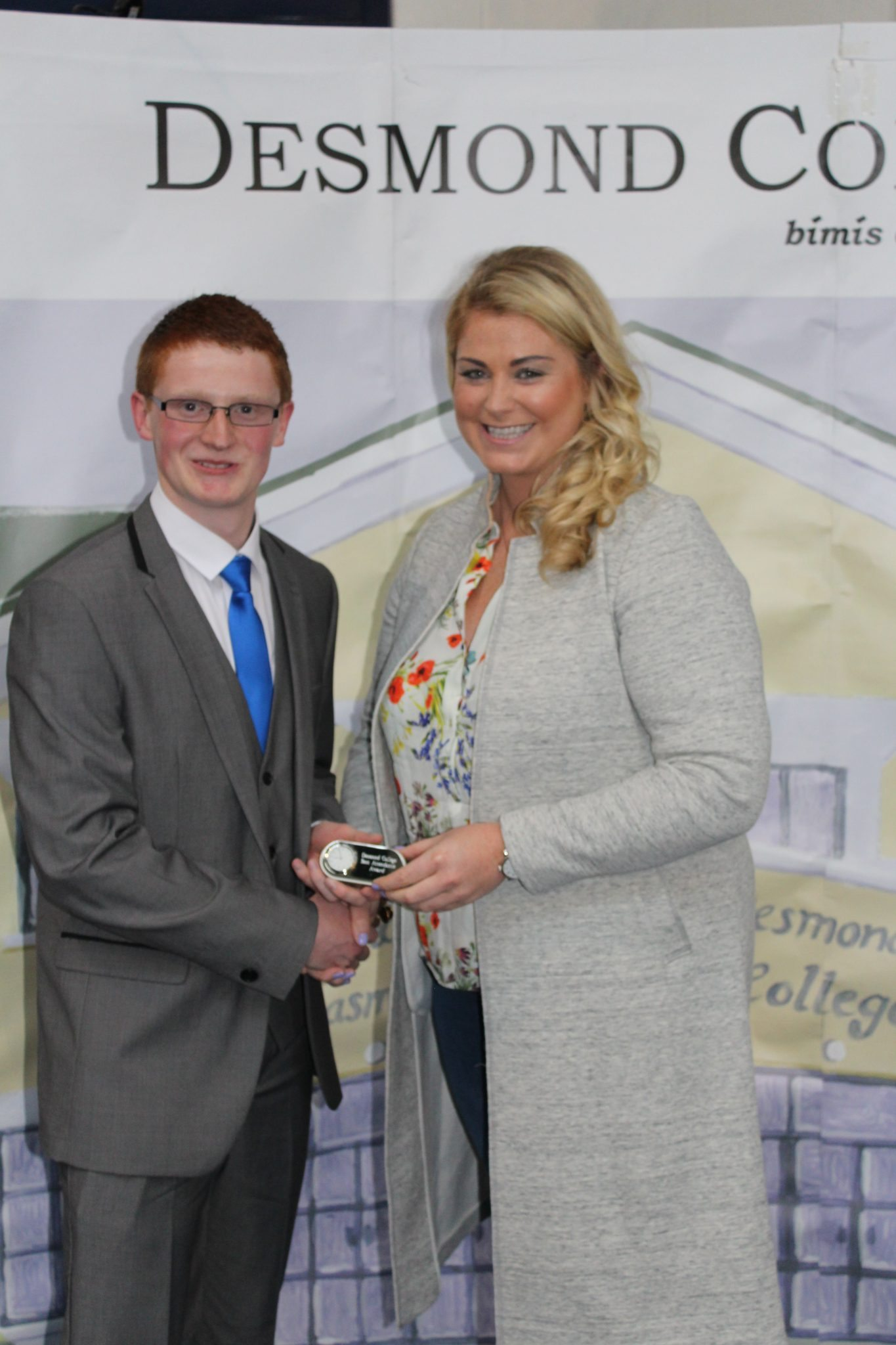 Dylan Tracey with Ms Ryan at the Leaving Certificate Graduation May 2015