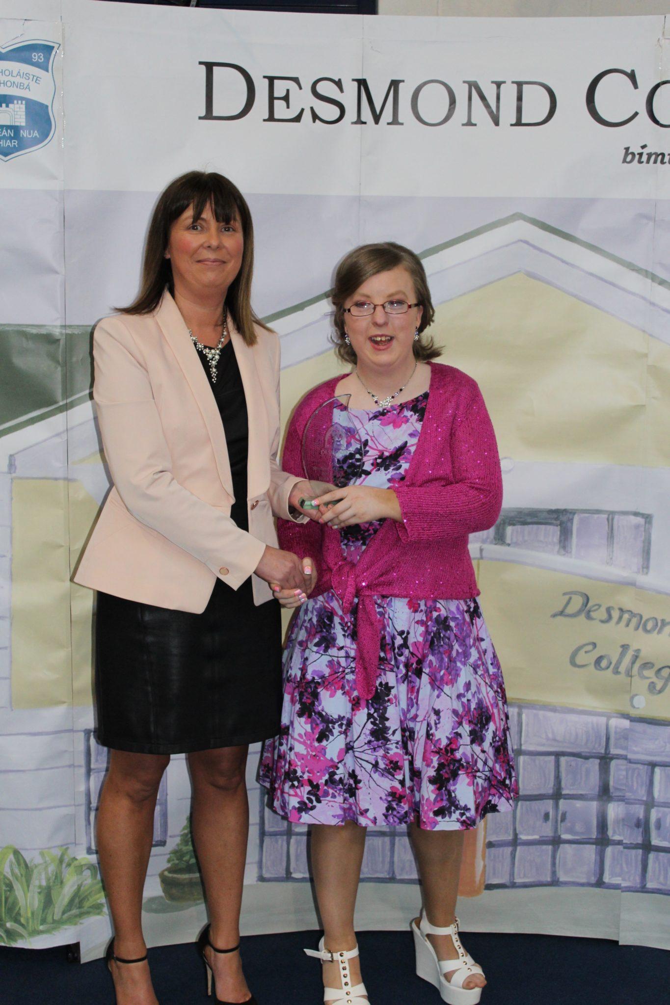 Desmond College Leaving Certificate Graduation 2015: LCA Student of the year Ruth Cregan with Liz Cregan