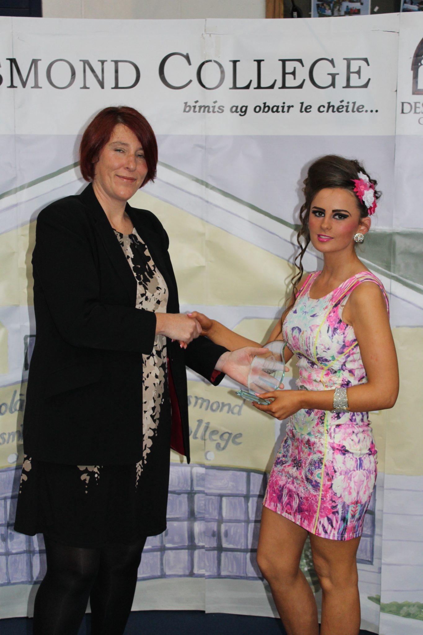 Desmond College Leaving Certificate Graduation 2015: Class Tutor Awards: Chantelle Coady with Ms McCarthy