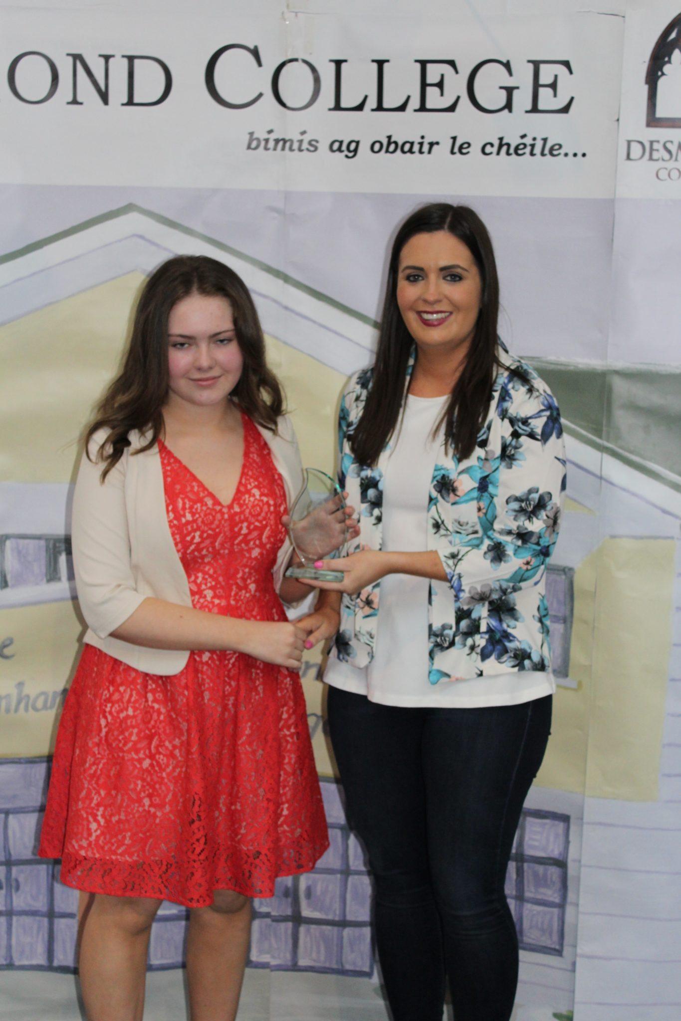 Desmond College Leaving Certificate Graduation 2015: Class Tutor Award: Laura Sexton with Ms Culhane
