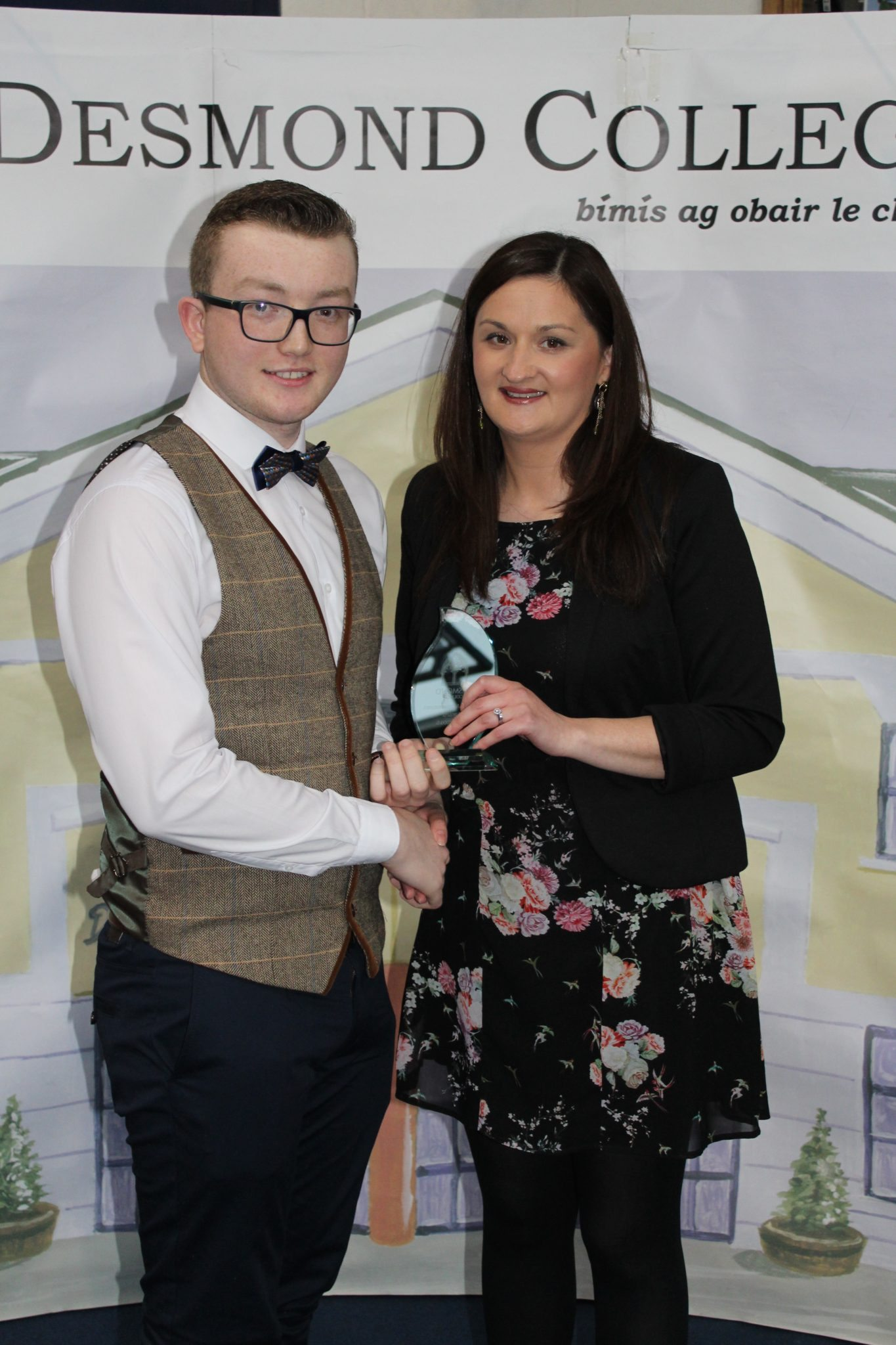 Desmond College Leaving Certificate Graduation 2015: Co-operation and Dilligence Award: Adam Greaney with Ms. O'Mahony