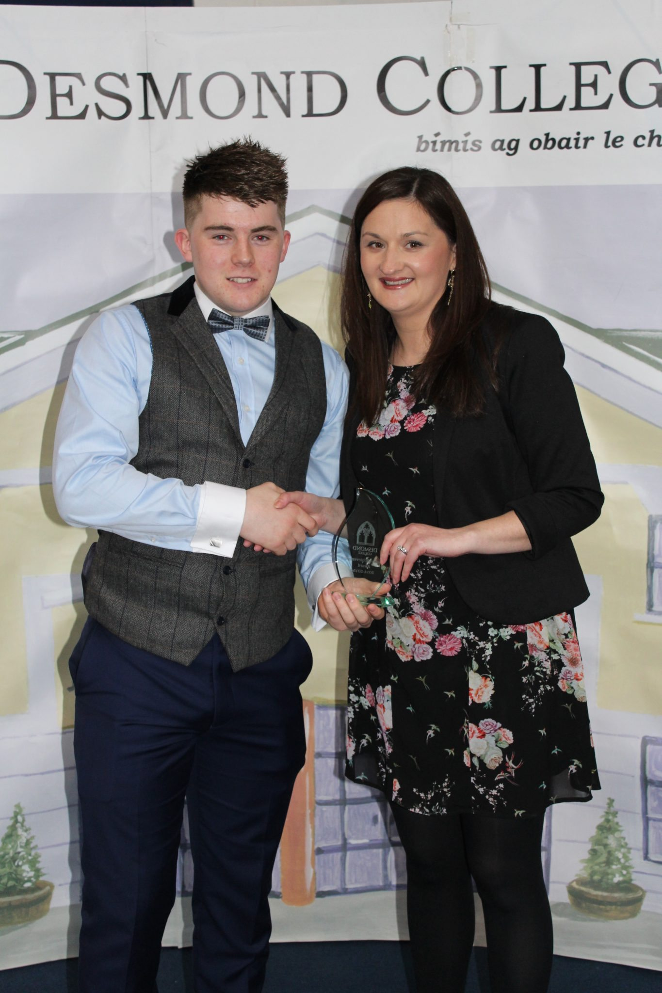 Desmond College Leaving Certificate Graduation 2015: Co-operation and Dilligence Award: Kieran Herlihy with Ms O'Mahoney
