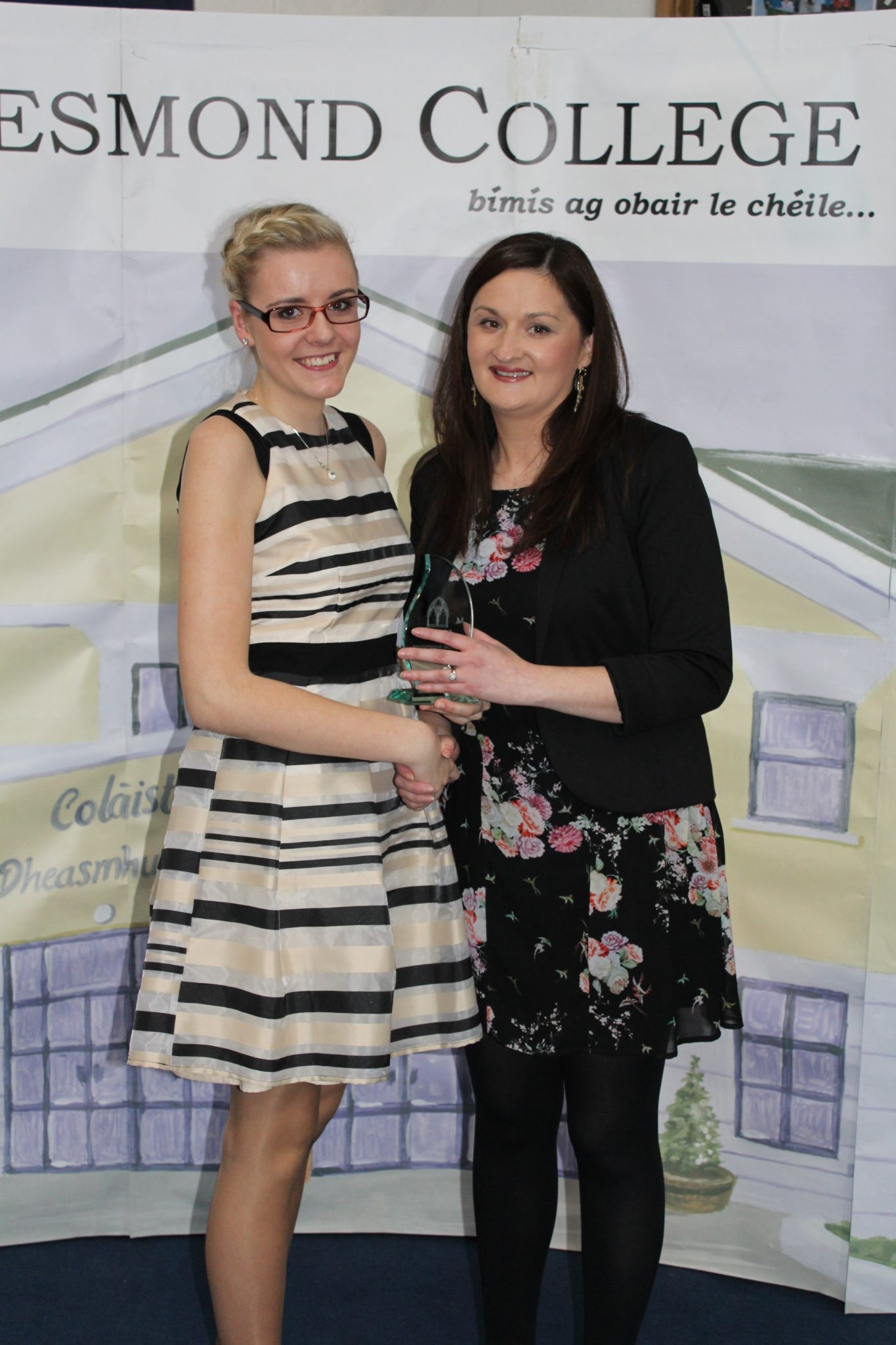 Desmond College Leaving Certificate Graduation 2015: Cooperation and Dilligence Award: Klaudia Tobianska with Ms O'Mahony