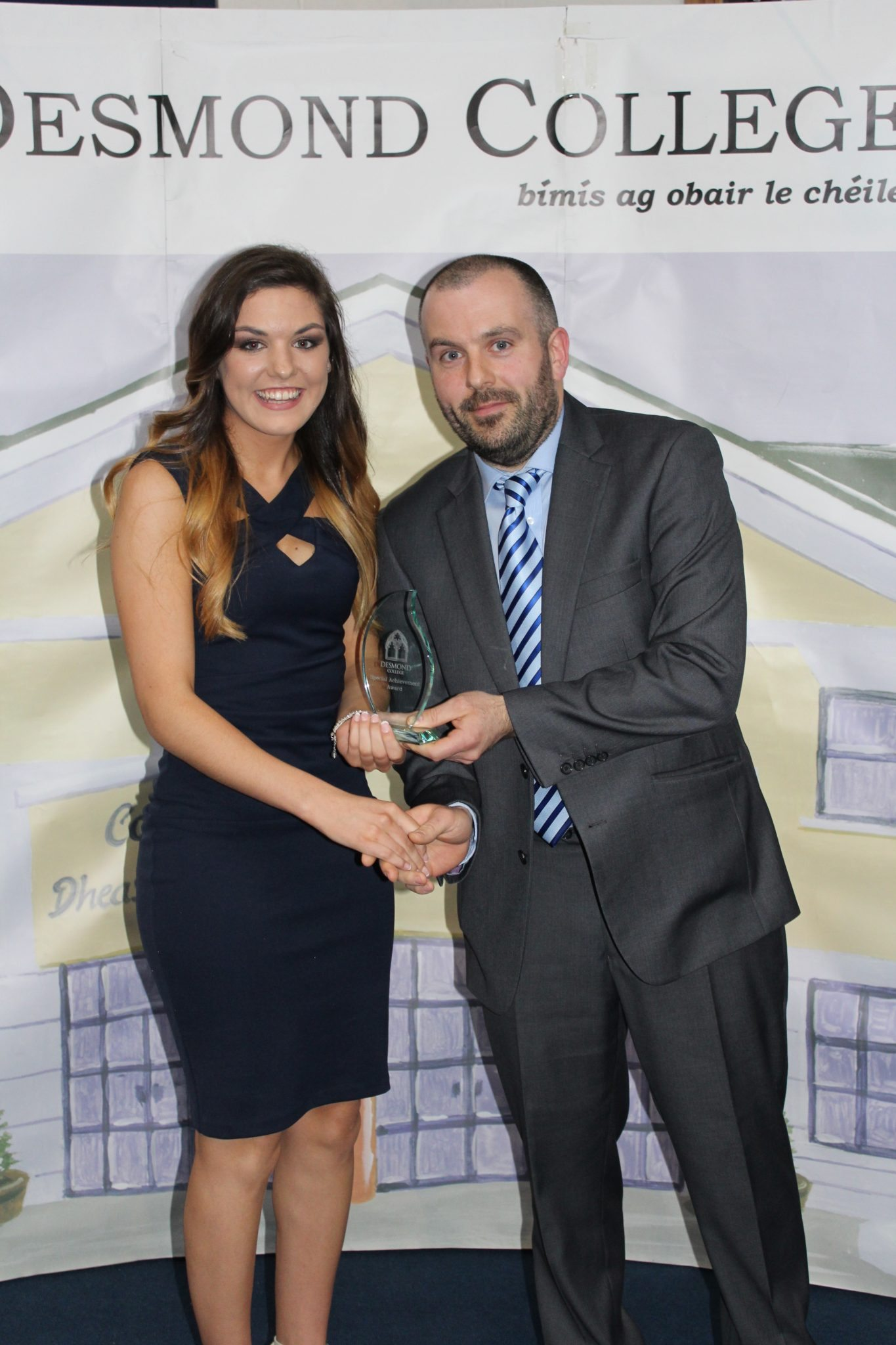 Desmond College Leaving Certificate Graduation 2015: Dedication and Commitment Award: Amy Cussen with Mr. Culhane