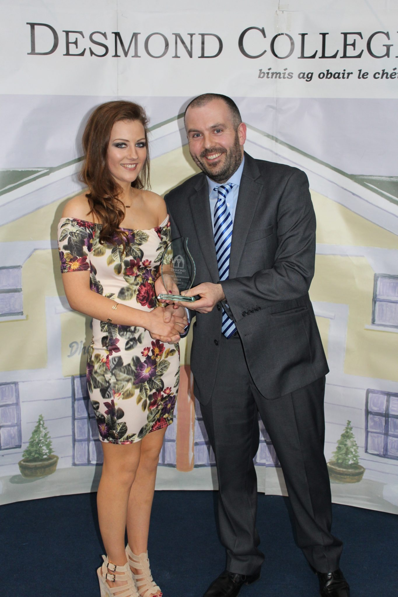 Desmond College Leaving Certificate Graduation 2015: Dedication and Commitment Award: Becky Bennett with Mr Culhane